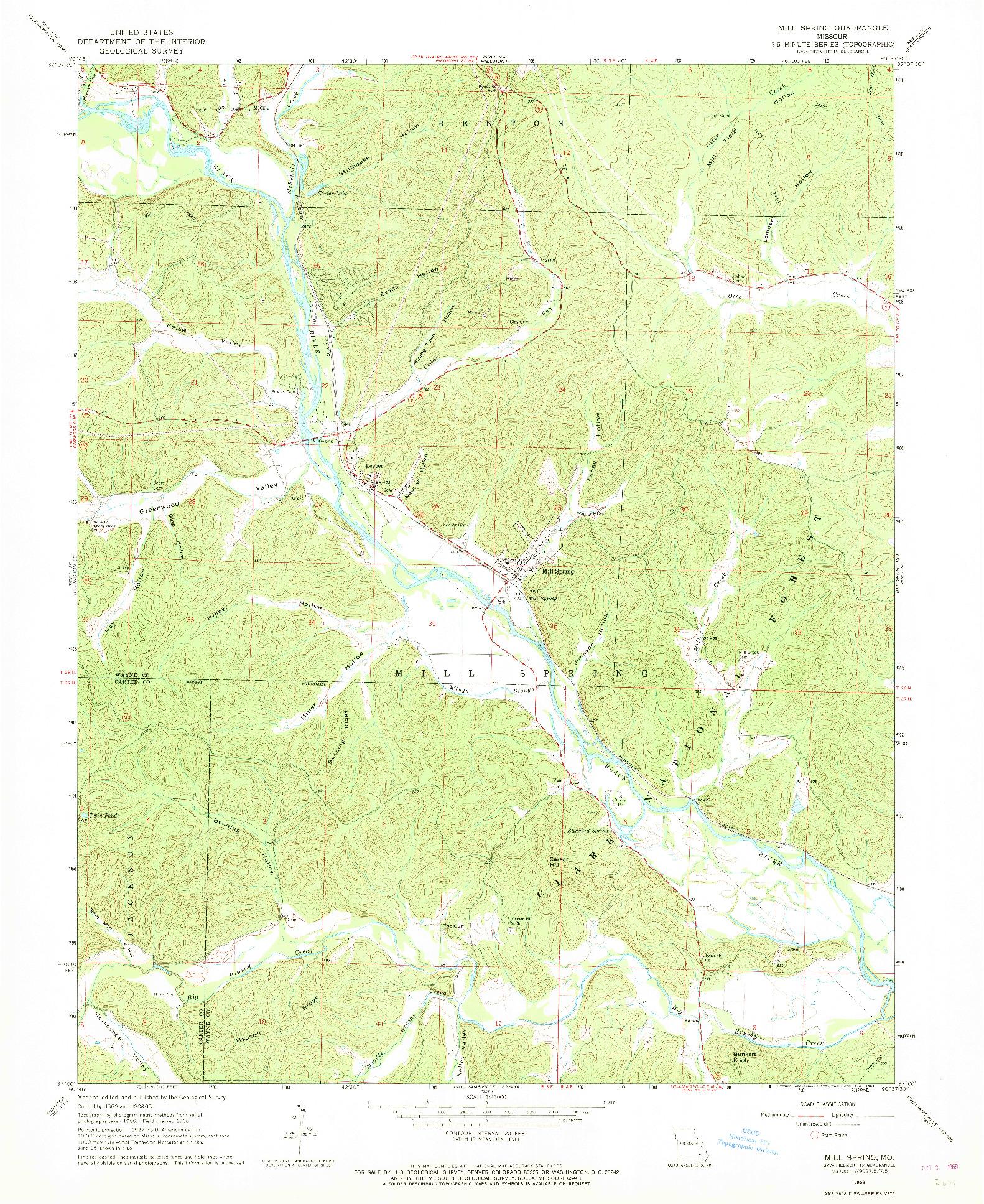 USGS 1:24000-SCALE QUADRANGLE FOR MILL SPRING, MO 1968