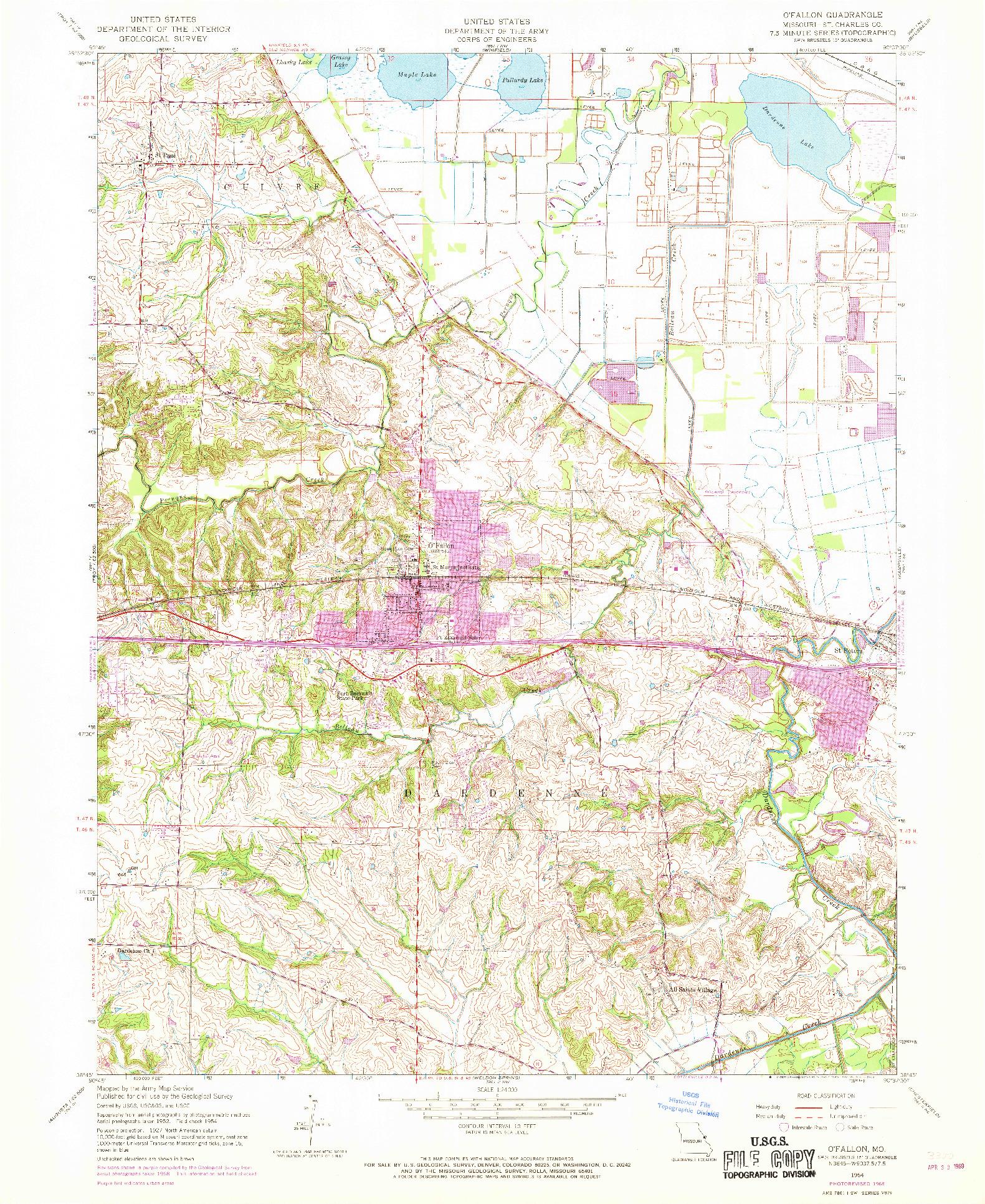 USGS 1:24000-SCALE QUADRANGLE FOR O'FALLON, MO 1954