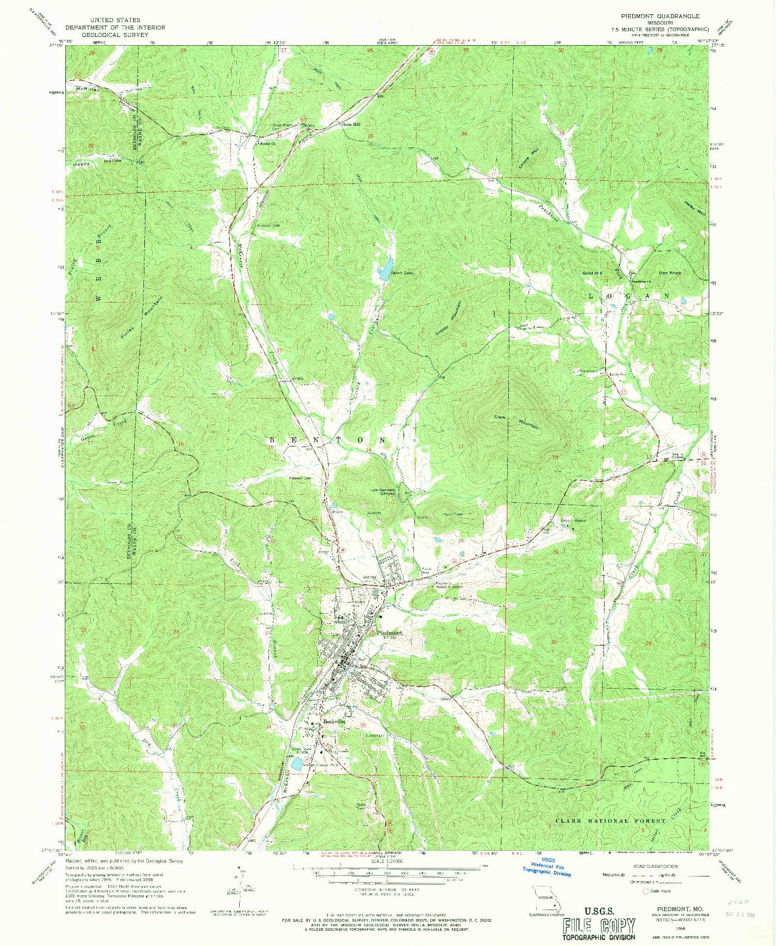 USGS 1:24000-SCALE QUADRANGLE FOR PIEDMONT, MO 1968