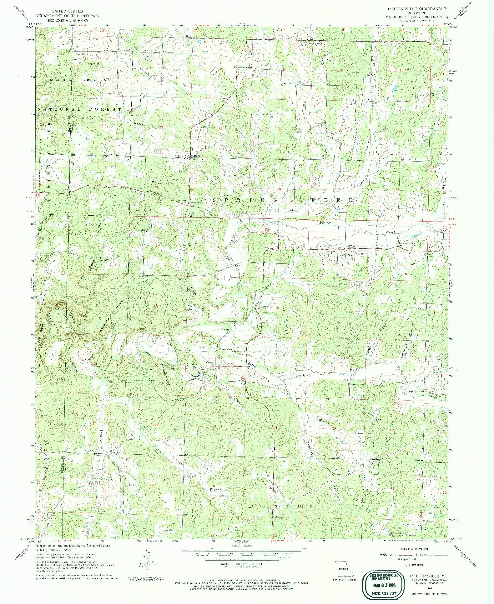 USGS 1:24000-SCALE QUADRANGLE FOR POTTERSVILLE, MO 1968