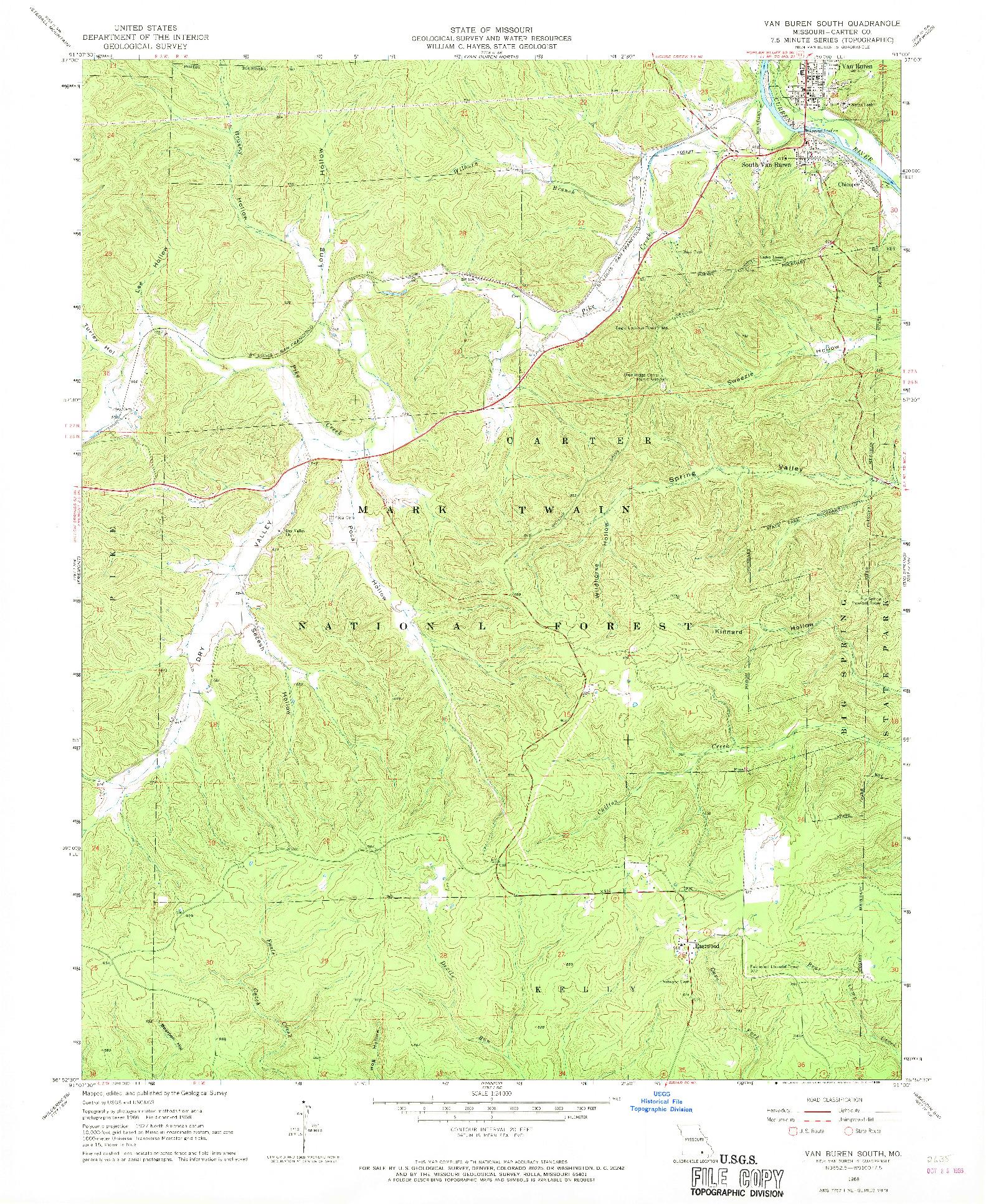 USGS 1:24000-SCALE QUADRANGLE FOR VAN BUREN SOUTH, MO 1968