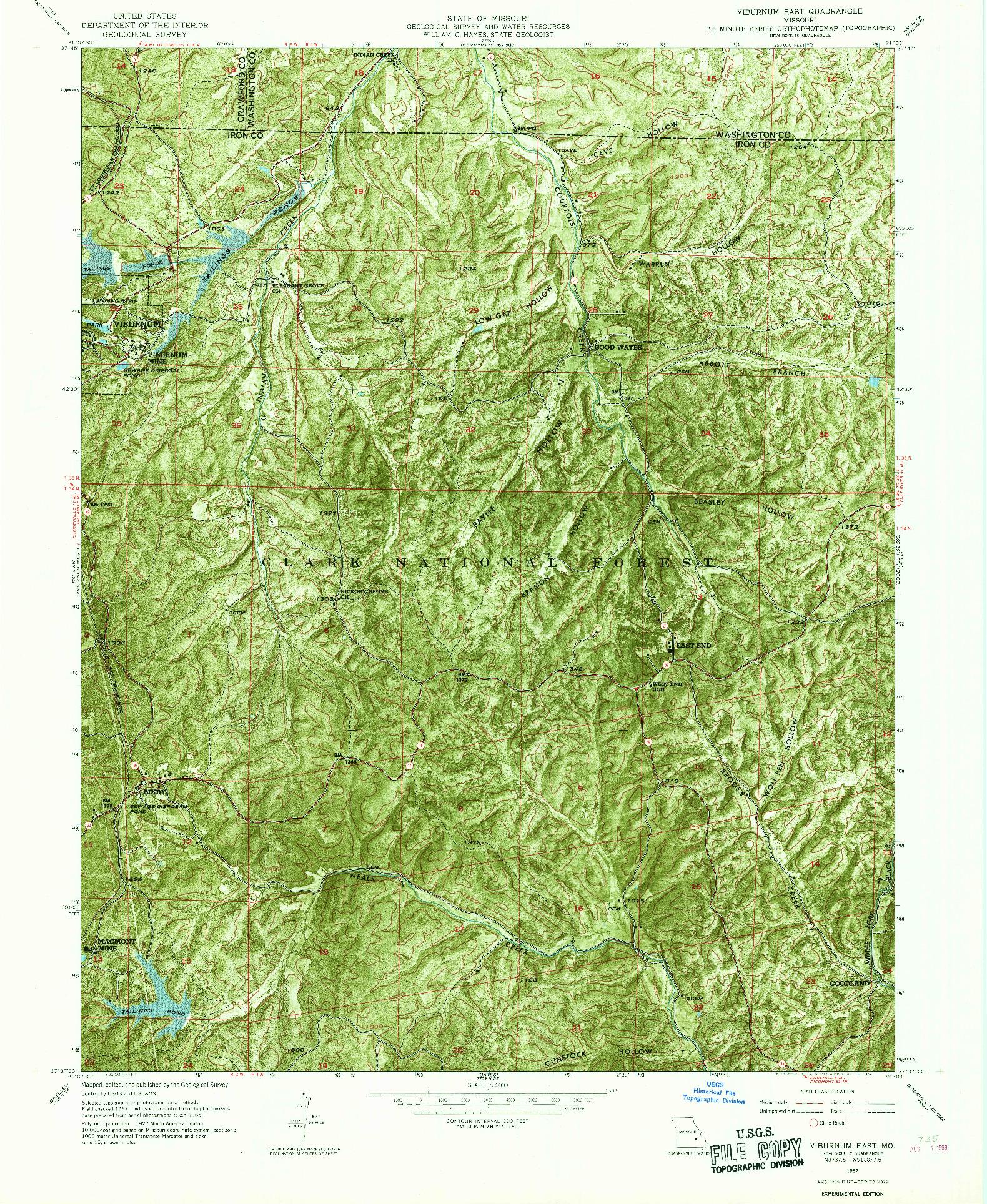 USGS 1:24000-SCALE QUADRANGLE FOR VIBURNUM EAST, MO 1967