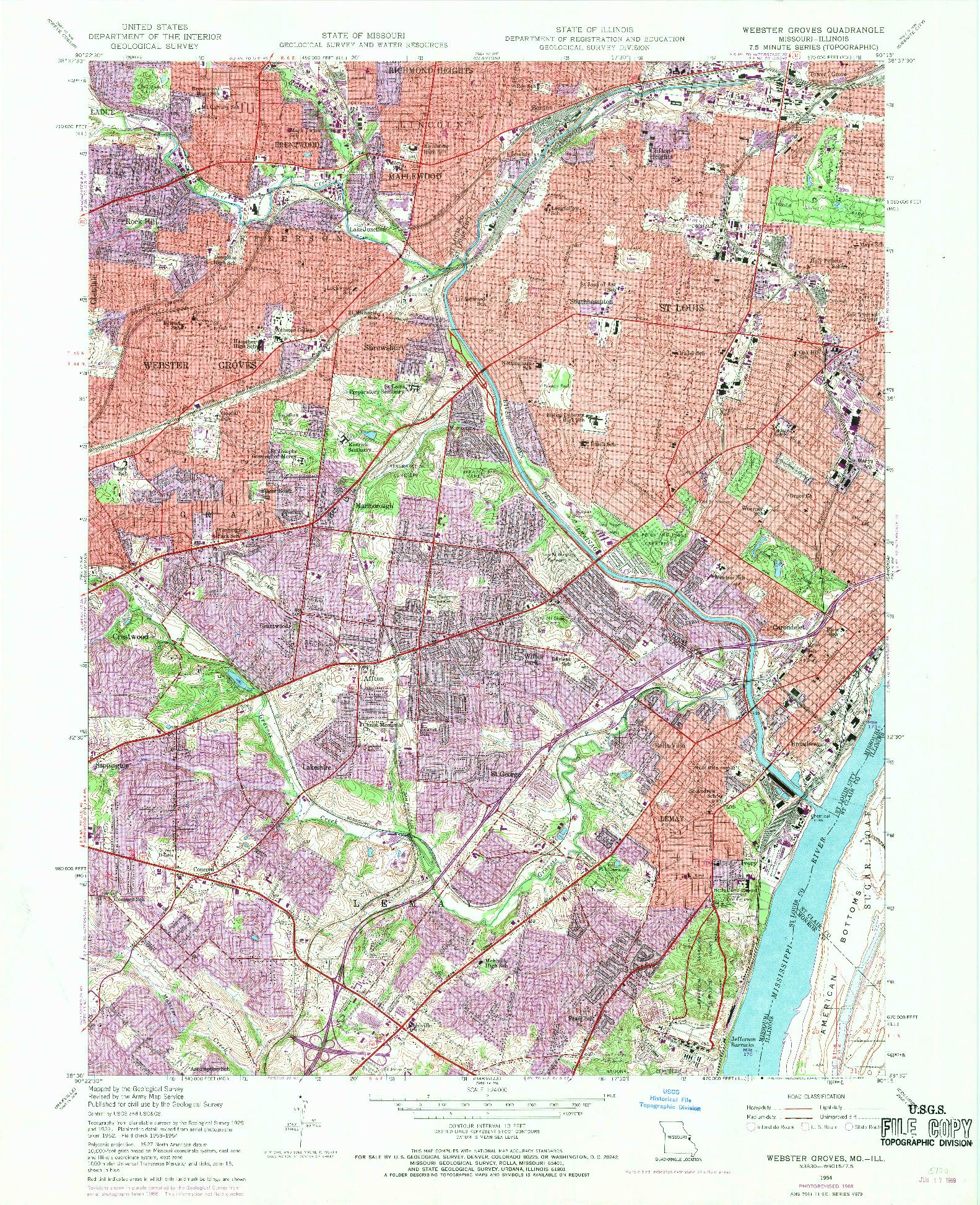 USGS 1:24000-SCALE QUADRANGLE FOR WEBSTER GROVES, MO 1954