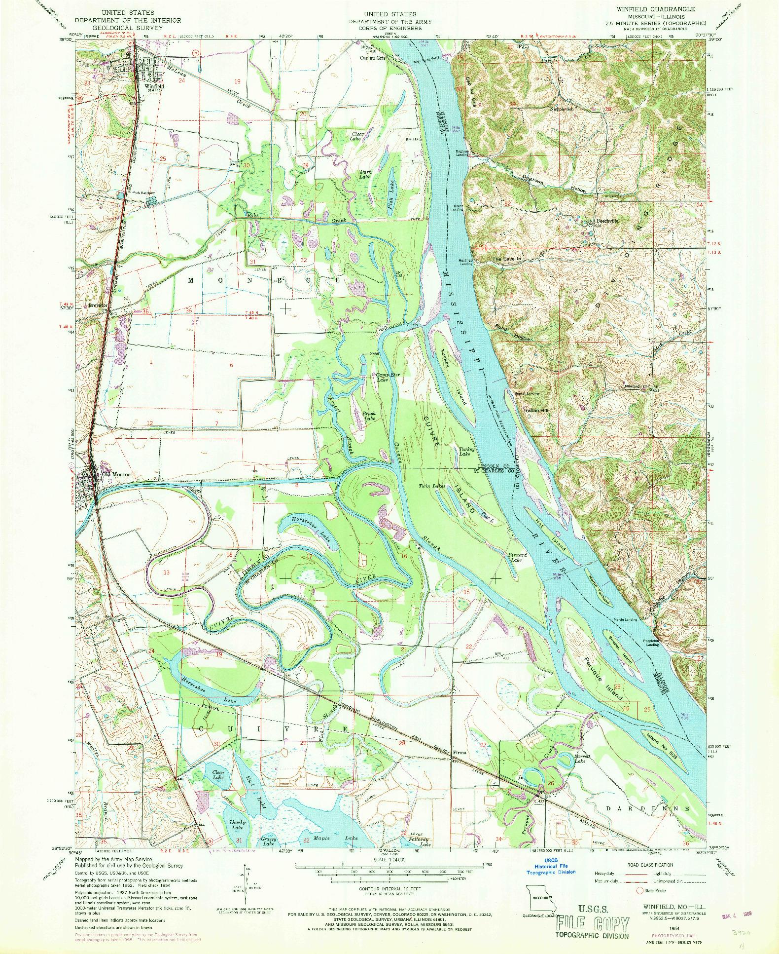 USGS 1:24000-SCALE QUADRANGLE FOR WINFIELD, MO 1954