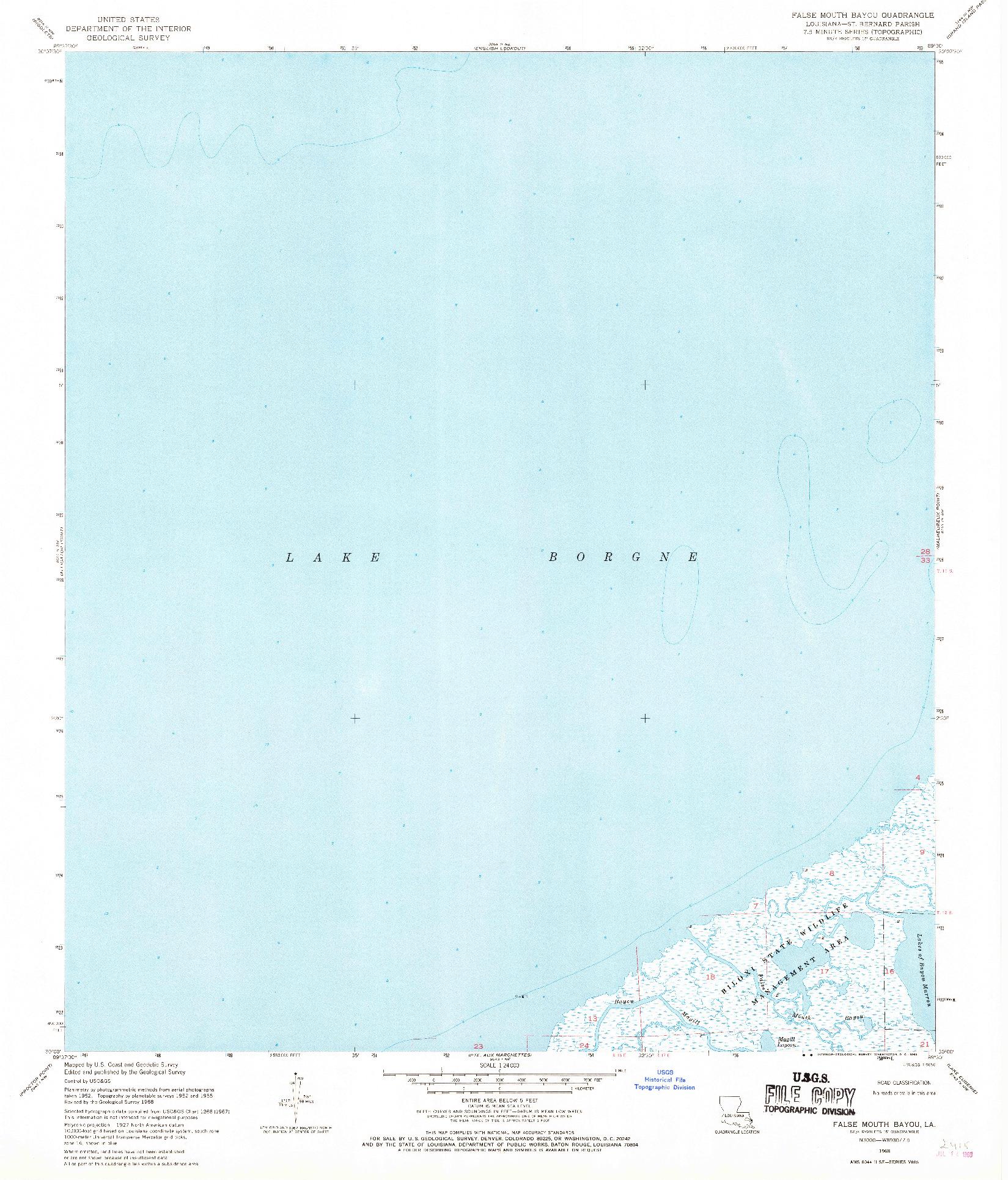 USGS 1:24000-SCALE QUADRANGLE FOR FALSE MOUTH BAYOU, LA 1968