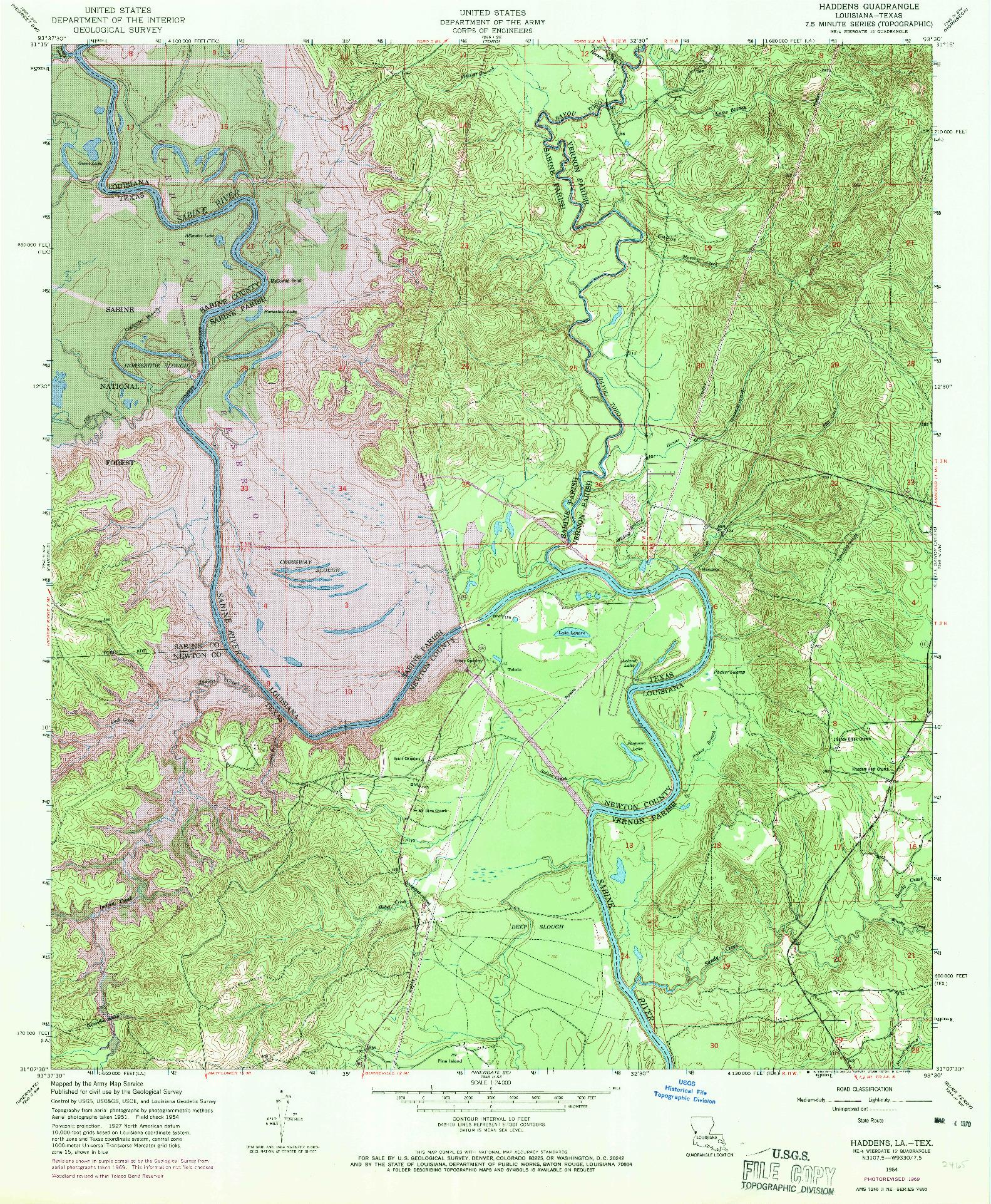 USGS 1:24000-SCALE QUADRANGLE FOR HADDENS, LA 1954