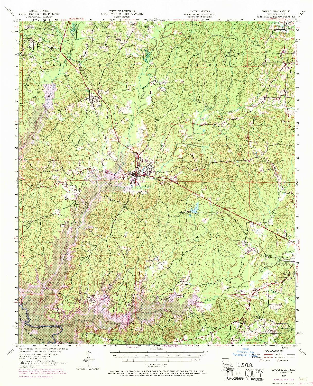 USGS 1:62500-SCALE QUADRANGLE FOR ZWOLLE, LA 1957