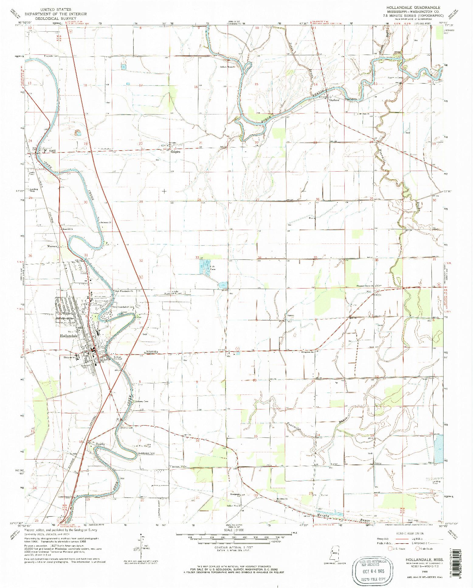 USGS 1:24000-SCALE QUADRANGLE FOR HOLLANDALE, MS 1968