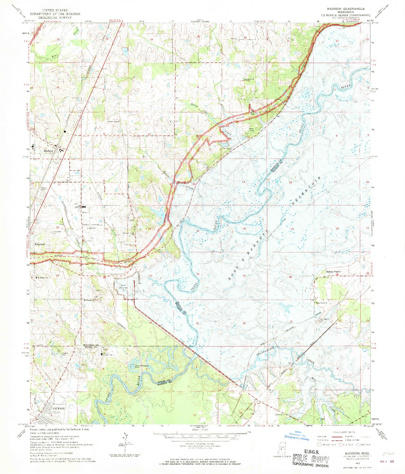 USGS 1:24000-SCALE QUADRANGLE FOR MADISON, MS 1963
