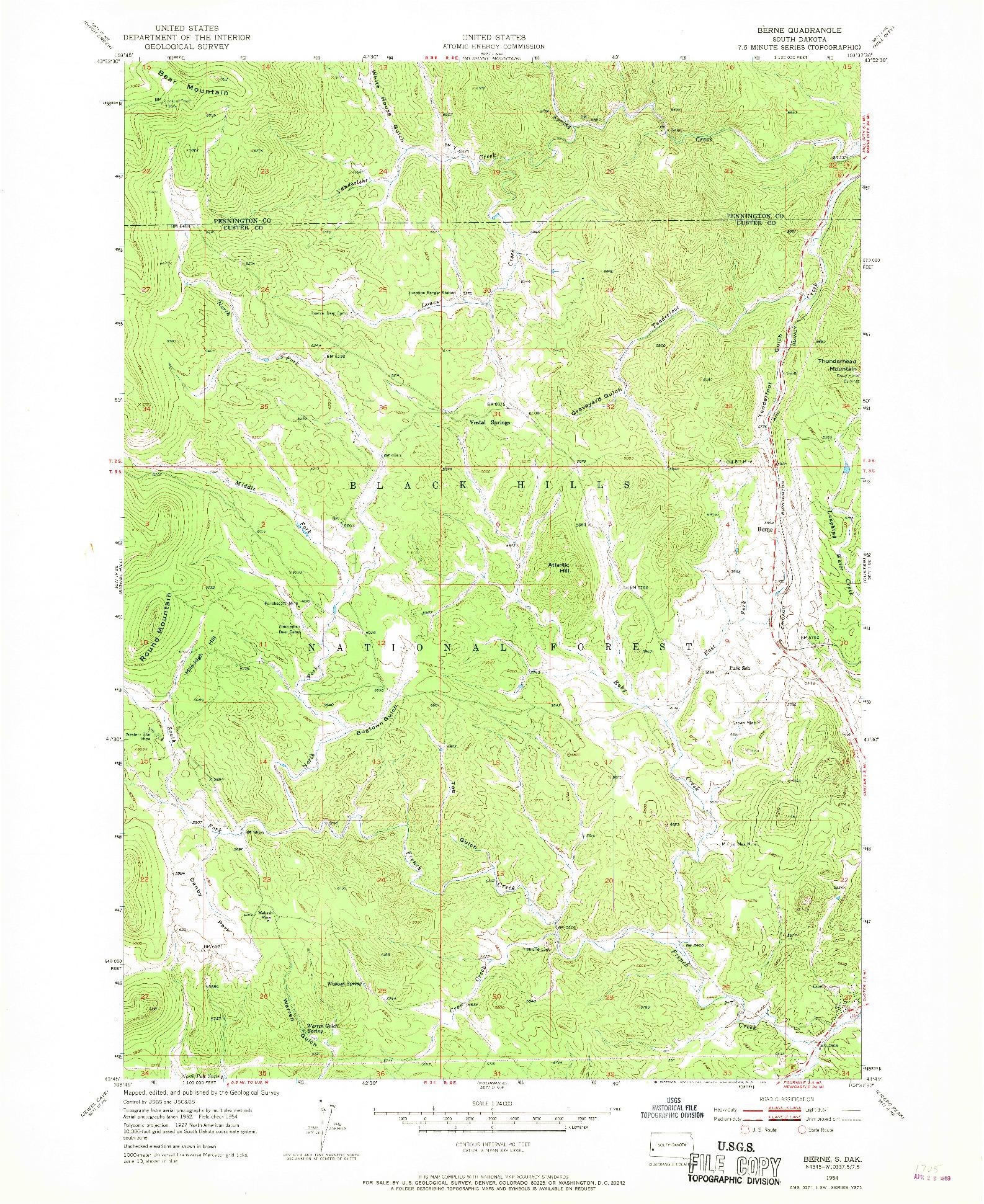 USGS 1:24000-SCALE QUADRANGLE FOR BERNE, SD 1954