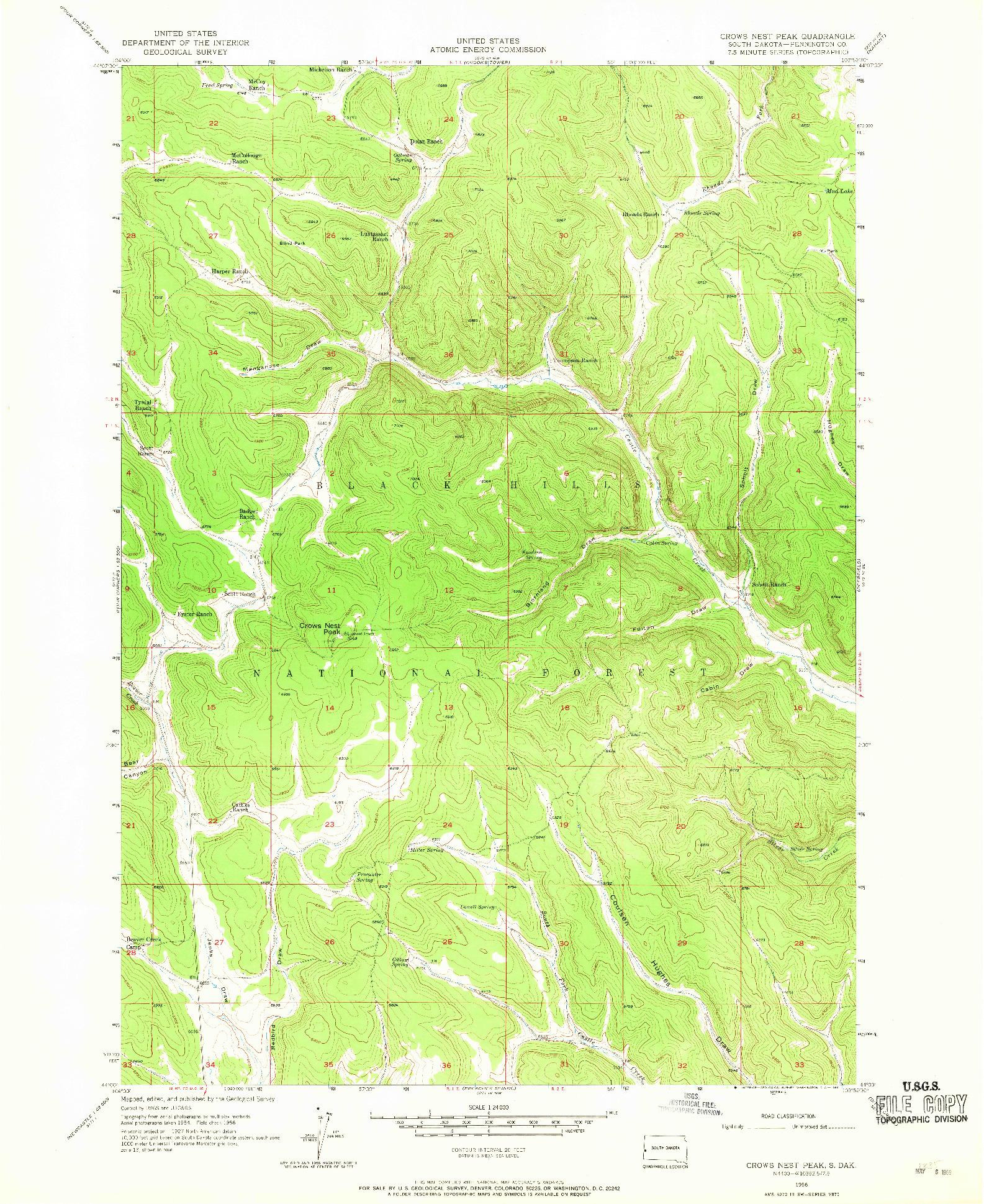 USGS 1:24000-SCALE QUADRANGLE FOR CROWS NEST PEAK, SD 1956