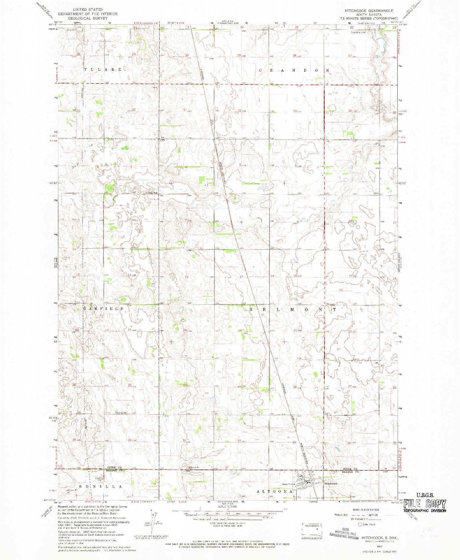 USGS 1:24000-SCALE QUADRANGLE FOR HITCHCOCK, SD 1967