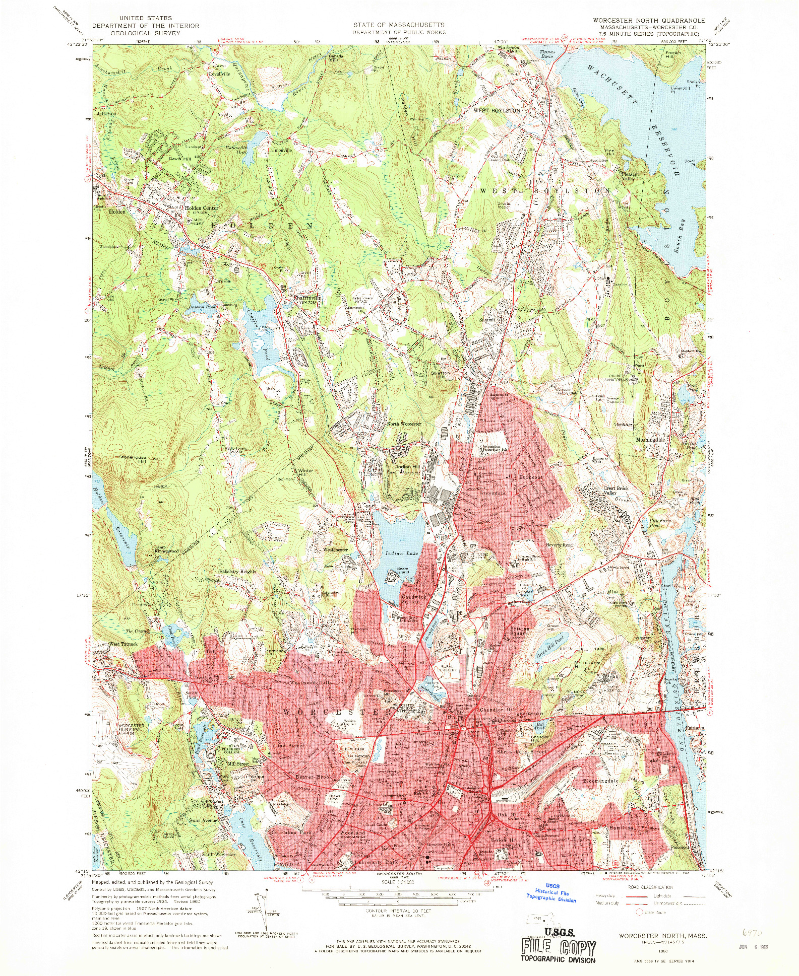 USGS 1:24000-SCALE QUADRANGLE FOR WORCESTER NORTH, MA 1960