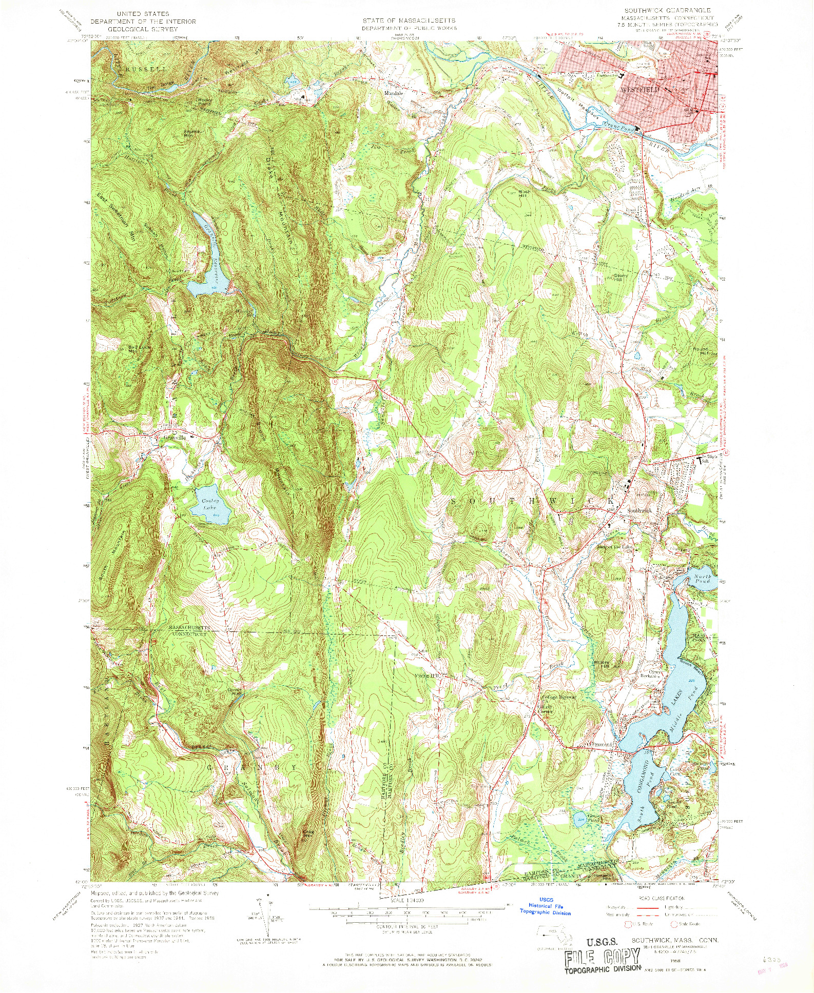 USGS 1:24000-SCALE QUADRANGLE FOR SOUTHWICK, MA 1958