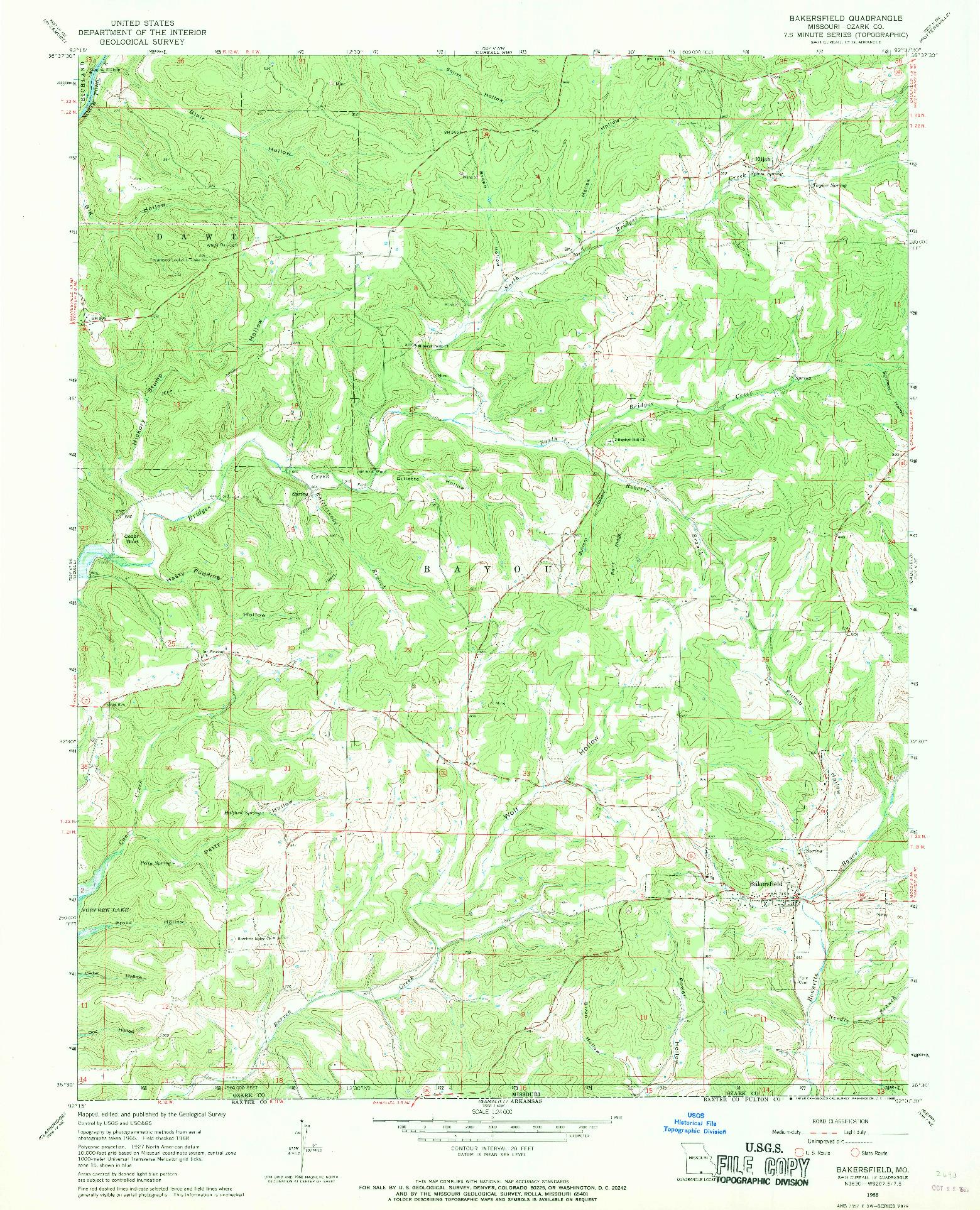USGS 1:24000-SCALE QUADRANGLE FOR BAKERSFIELD, MO 1968