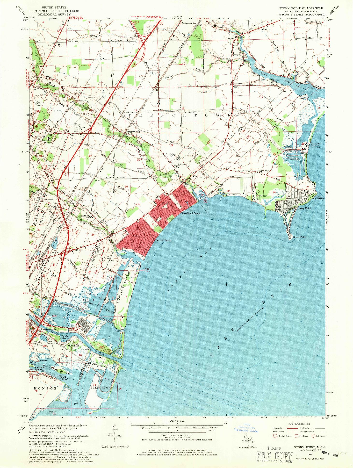 USGS 1:24000-SCALE QUADRANGLE FOR STONY POINT, MI 1967