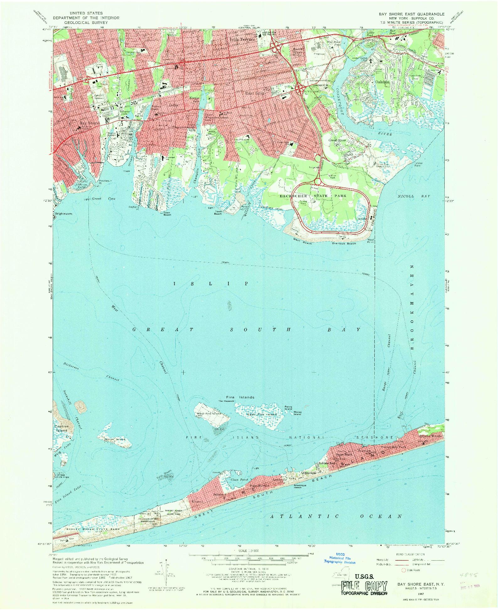 USGS 1:24000-SCALE QUADRANGLE FOR BAY SHORE EAST, NY 1967