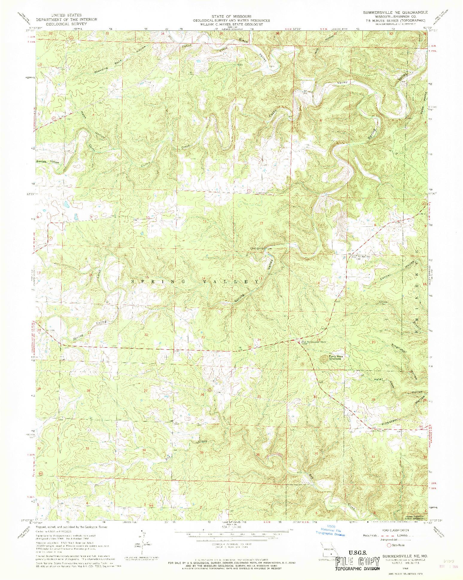 USGS 1:24000-SCALE QUADRANGLE FOR SUMMERSVILLE NE, MO 1968