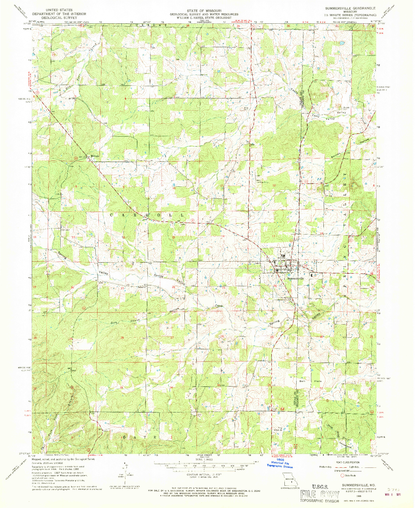 USGS 1:24000-SCALE QUADRANGLE FOR SUMMERSVILLE, MO 1968