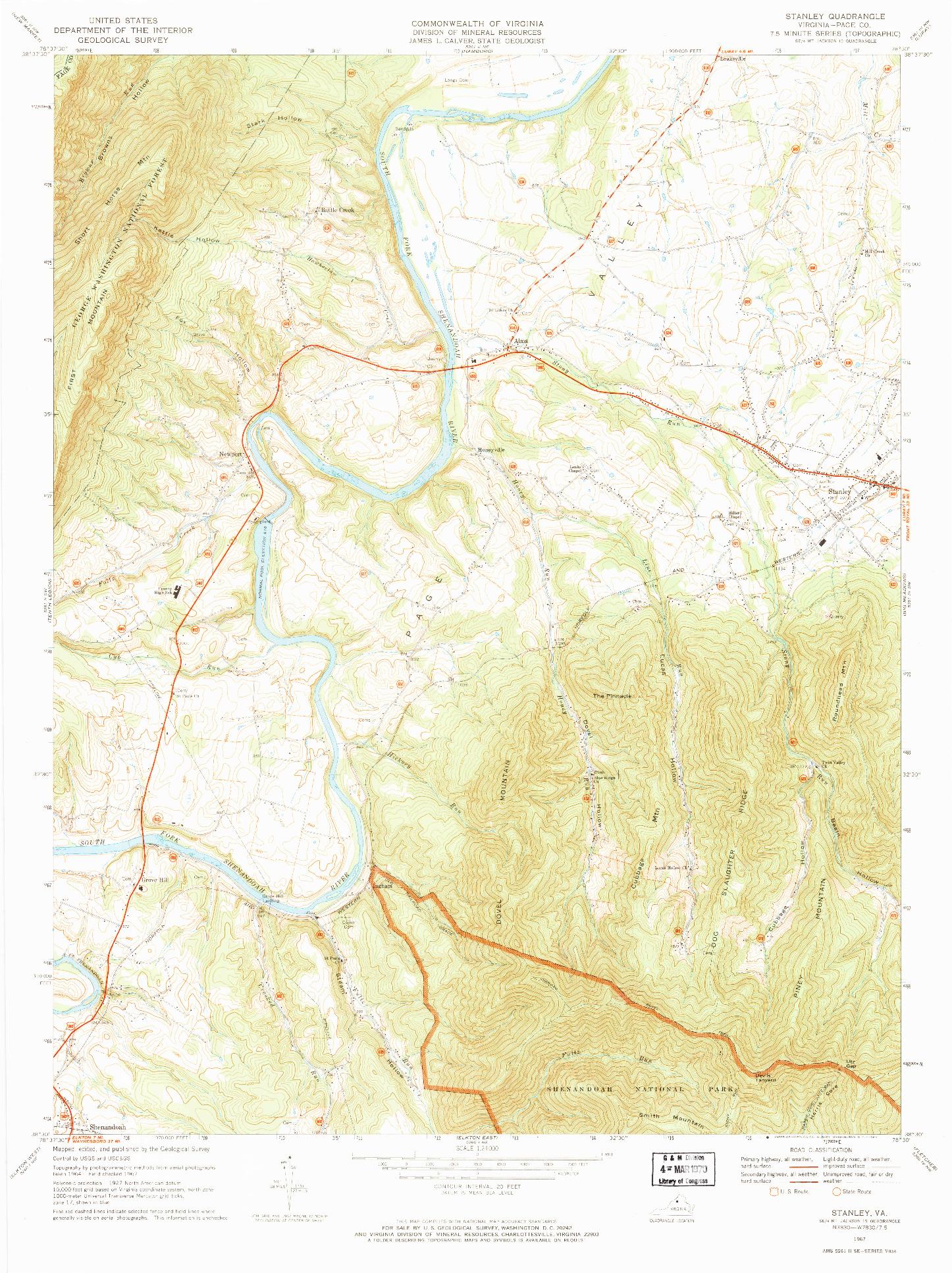 USGS 1:24000-SCALE QUADRANGLE FOR STANLEY, VA 1967
