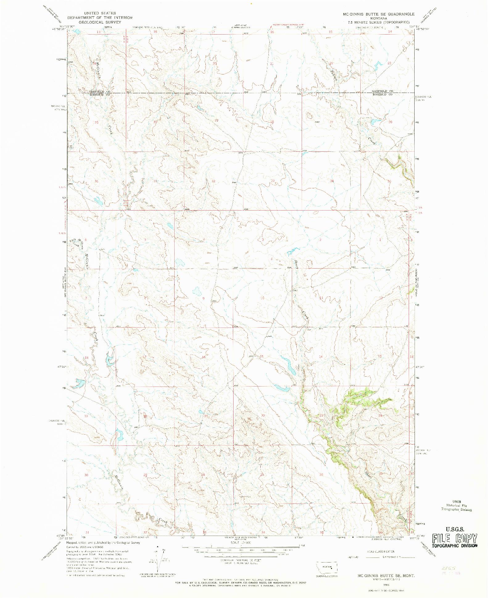 USGS 1:24000-SCALE QUADRANGLE FOR MC GINNIS BUTTE SE, MT 1965