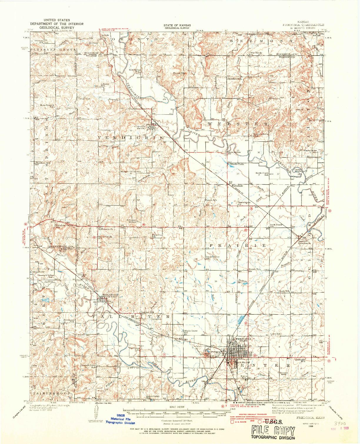 USGS 1:62500-SCALE QUADRANGLE FOR FREDONIA, KS 1938
