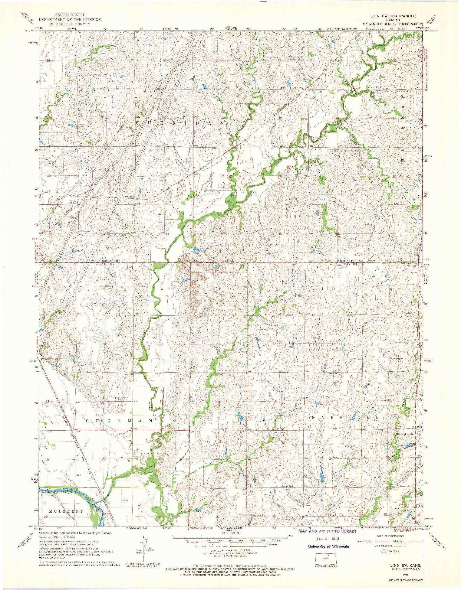 USGS 1:24000-SCALE QUADRANGLE FOR LINN SW, KS 1968