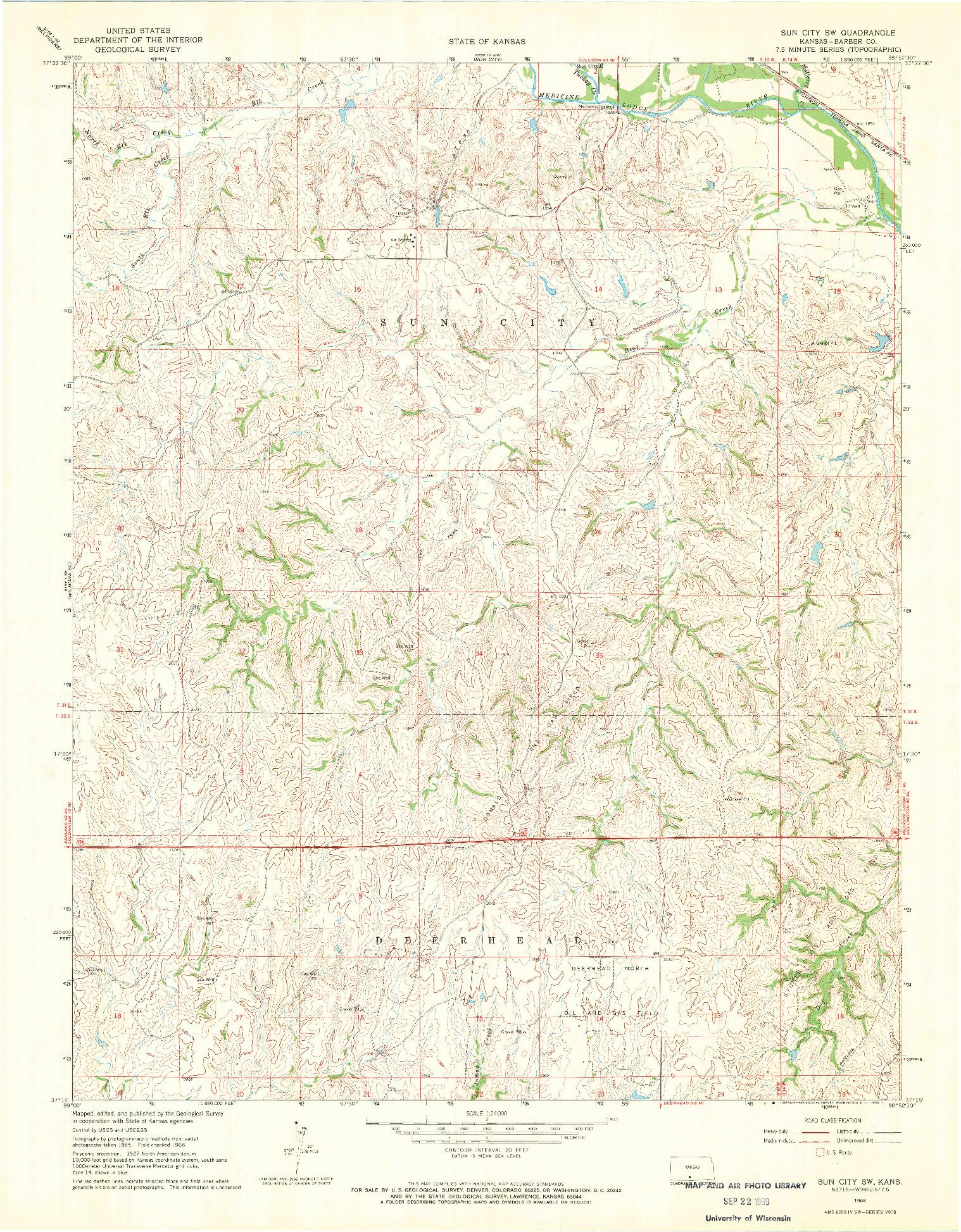 USGS 1:24000-SCALE QUADRANGLE FOR SUN CITY SW, KS 1968