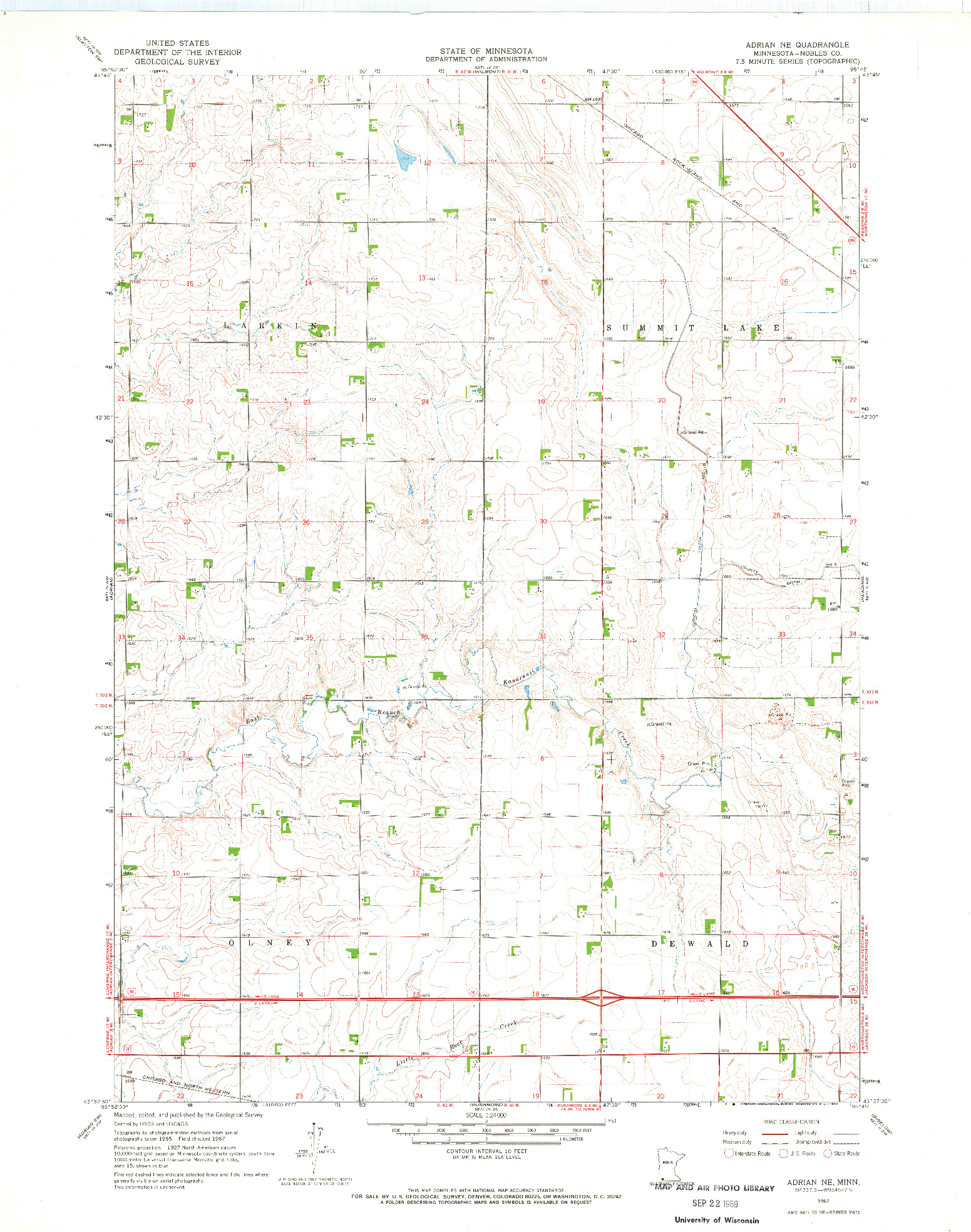 USGS 1:24000-SCALE QUADRANGLE FOR ADRIAN NE, MN 1967