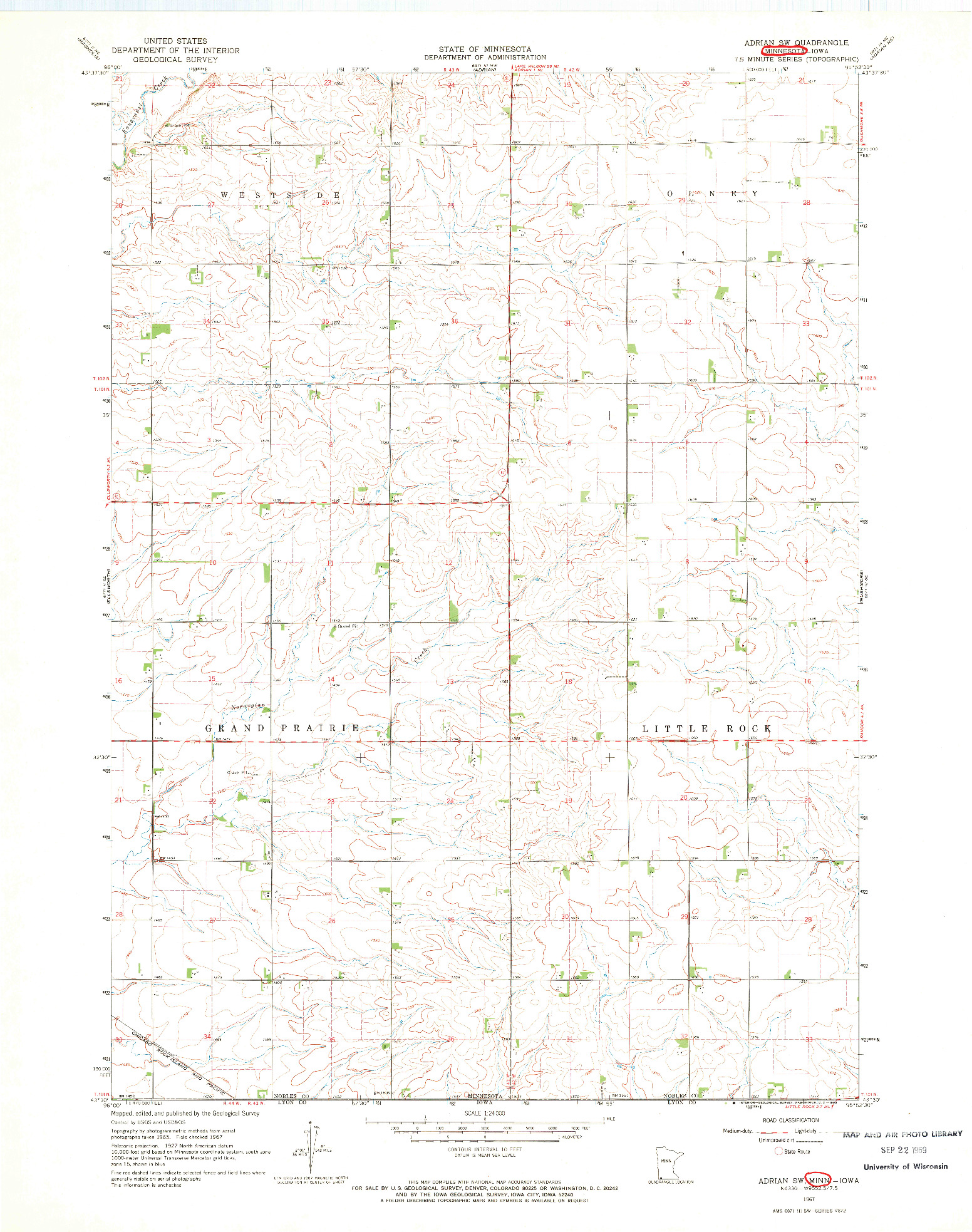 USGS 1:24000-SCALE QUADRANGLE FOR ADRIAN SW, MN 1967