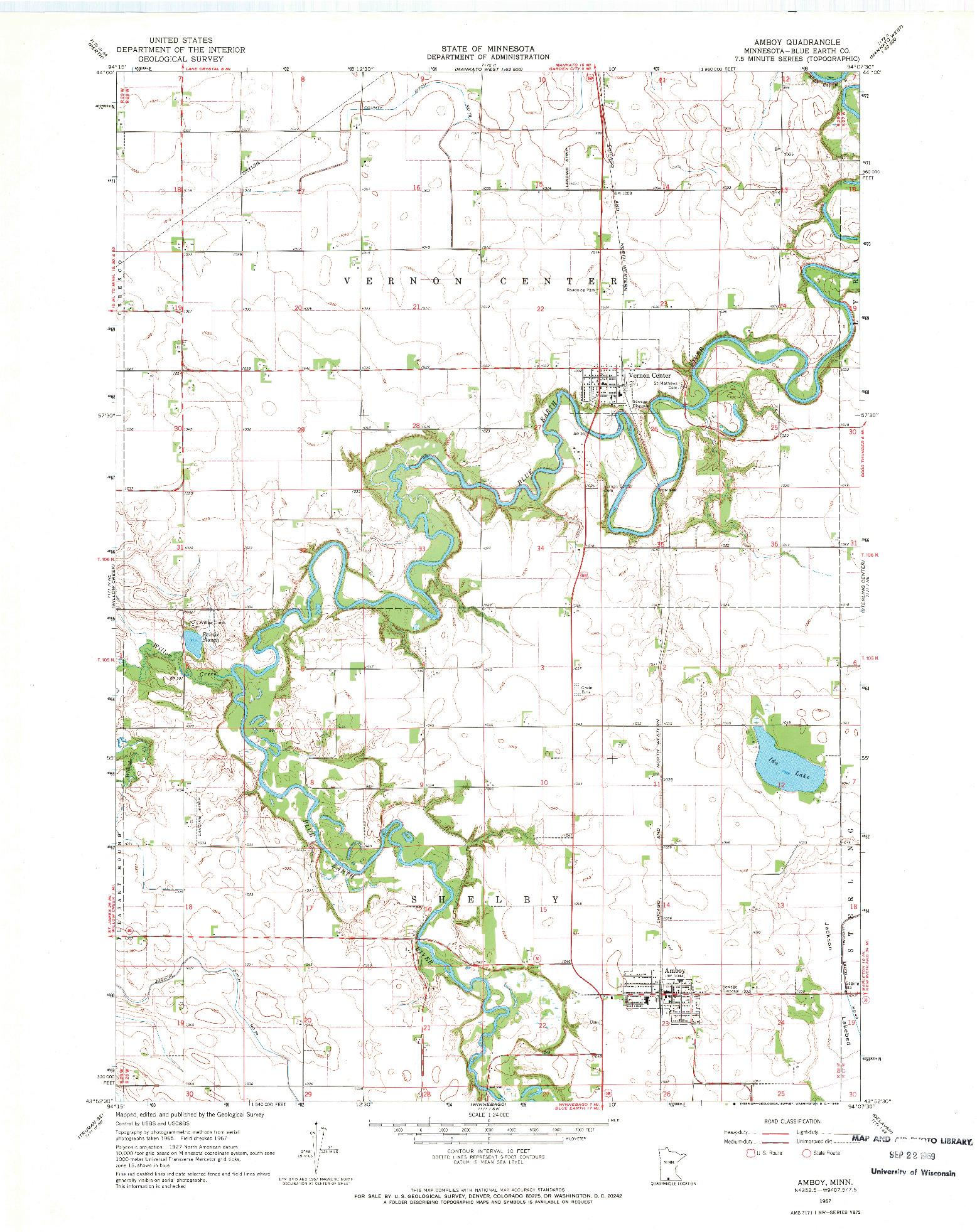 USGS 1:24000-SCALE QUADRANGLE FOR AMBOY, MN 1967