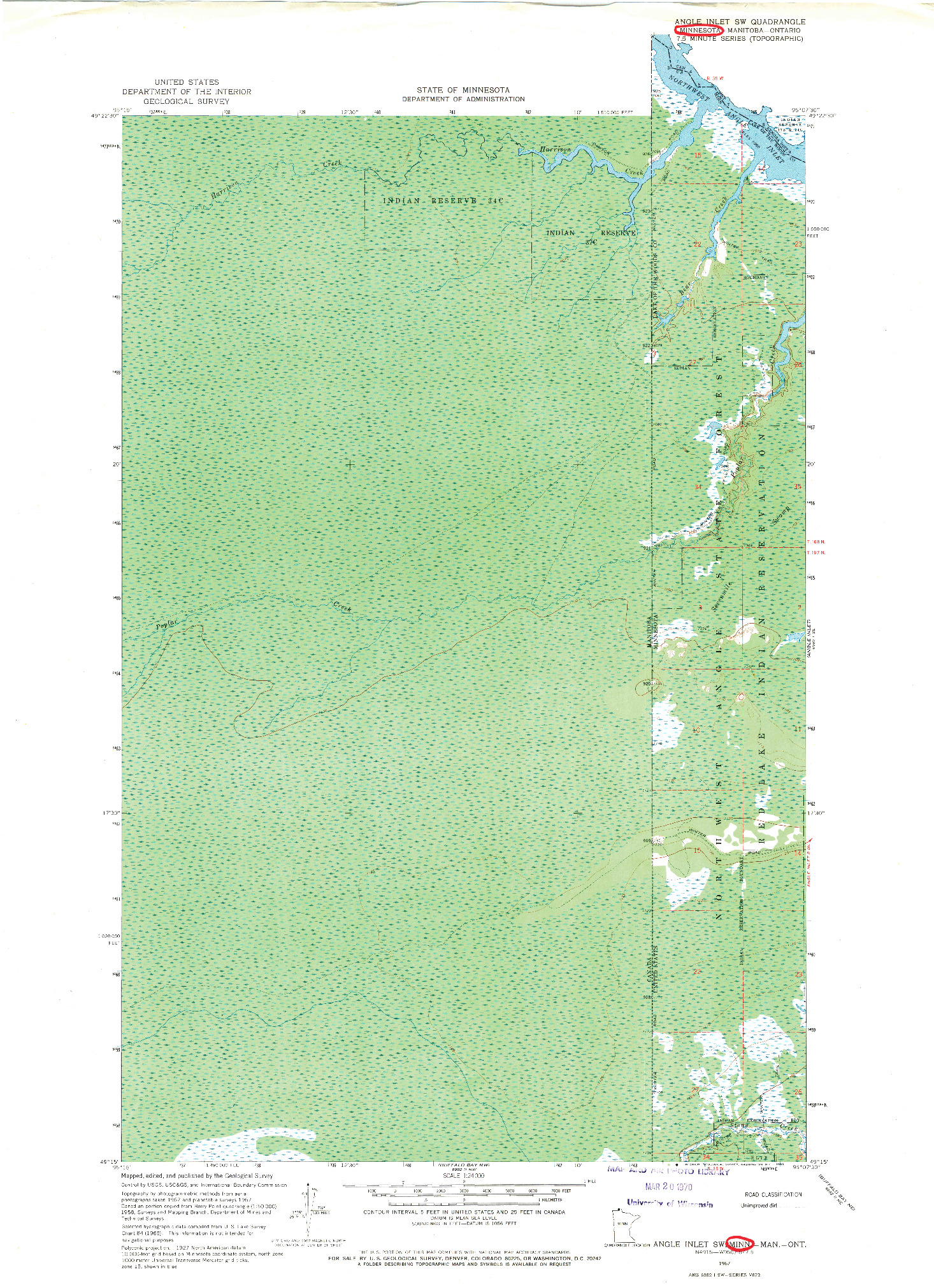 USGS 1:24000-SCALE QUADRANGLE FOR ANGLE INLET SW, MN 1967