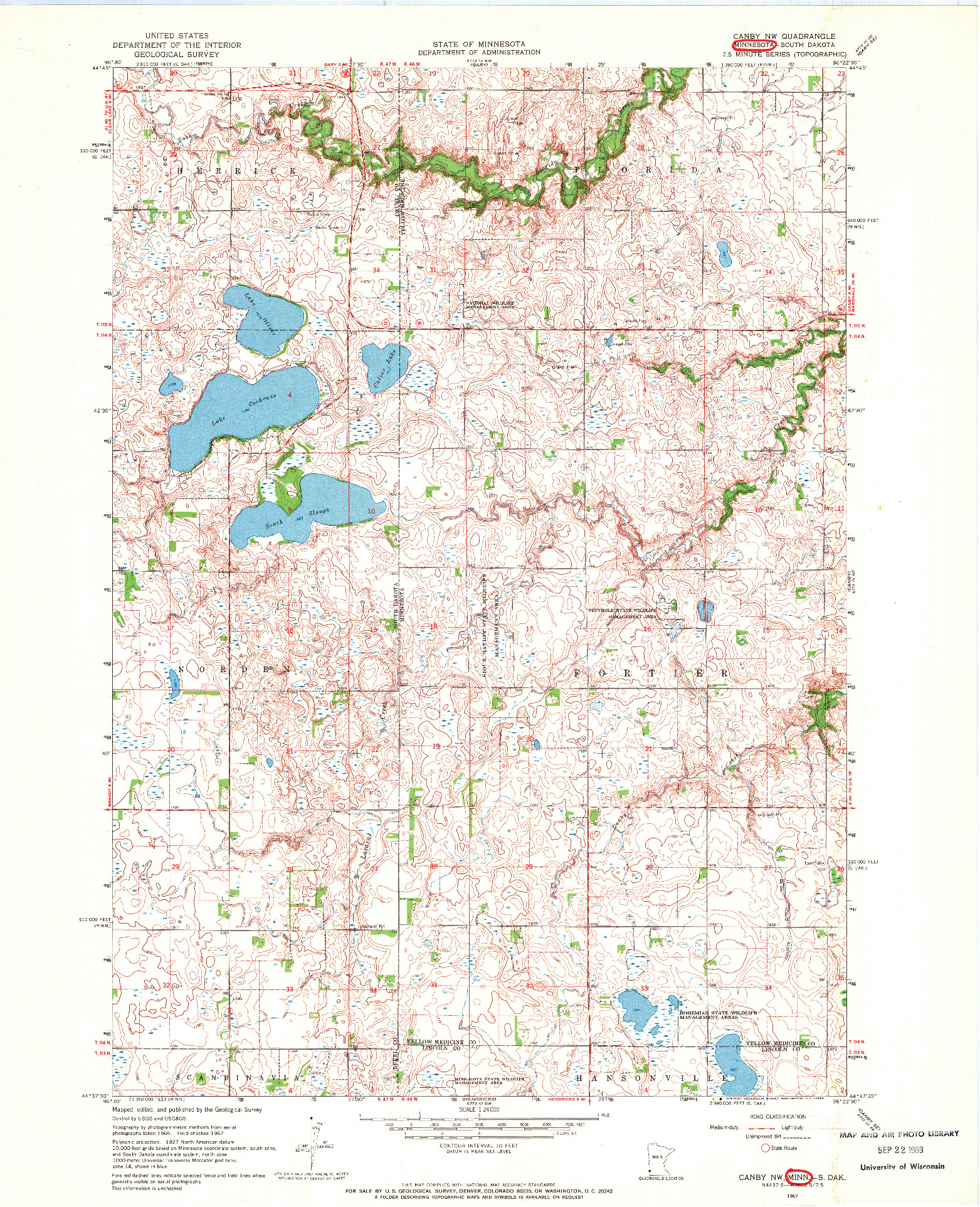 USGS 1:24000-SCALE QUADRANGLE FOR CANBY NW, MN 1967
