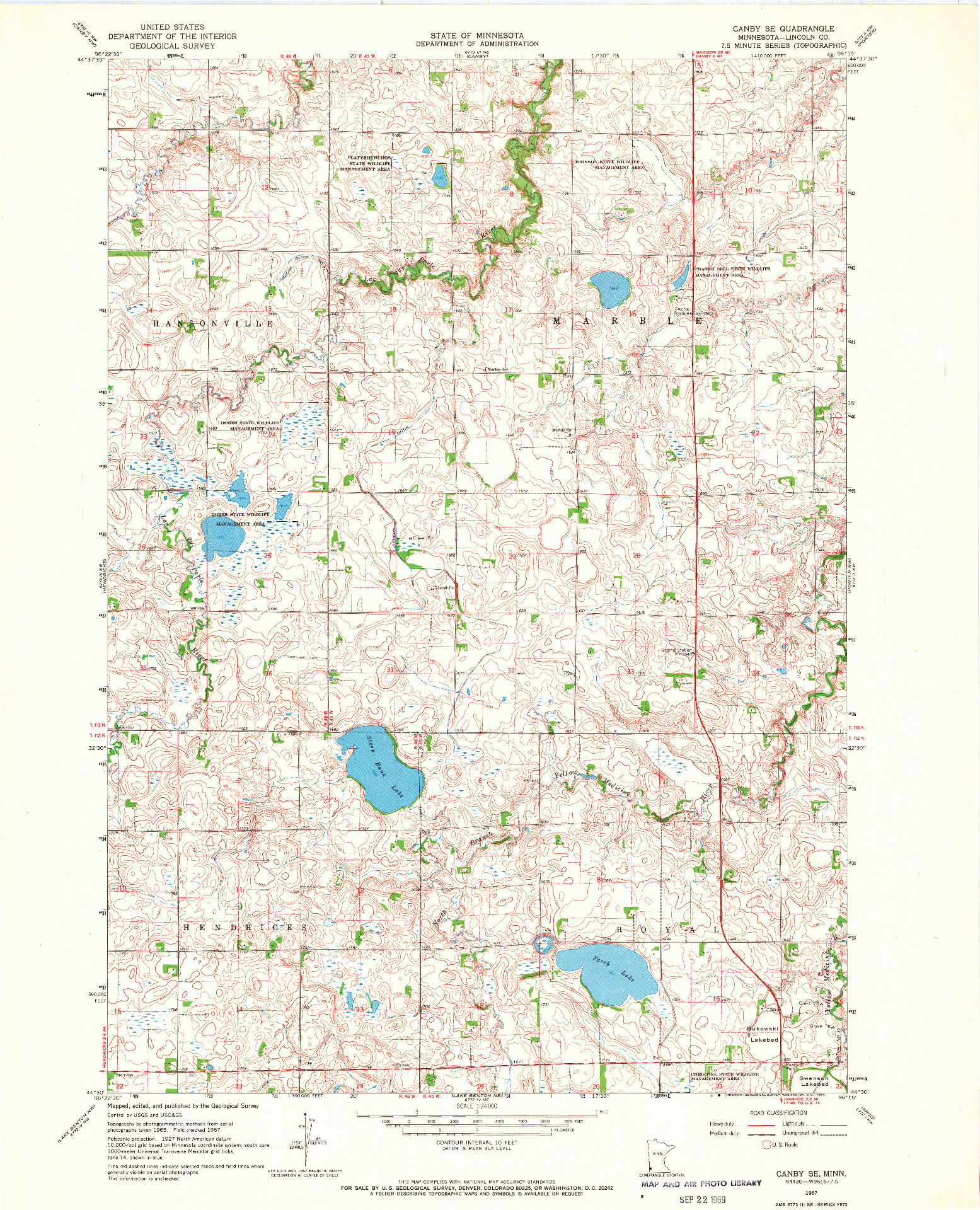 USGS 1:24000-SCALE QUADRANGLE FOR CANBY SE, MN 1967