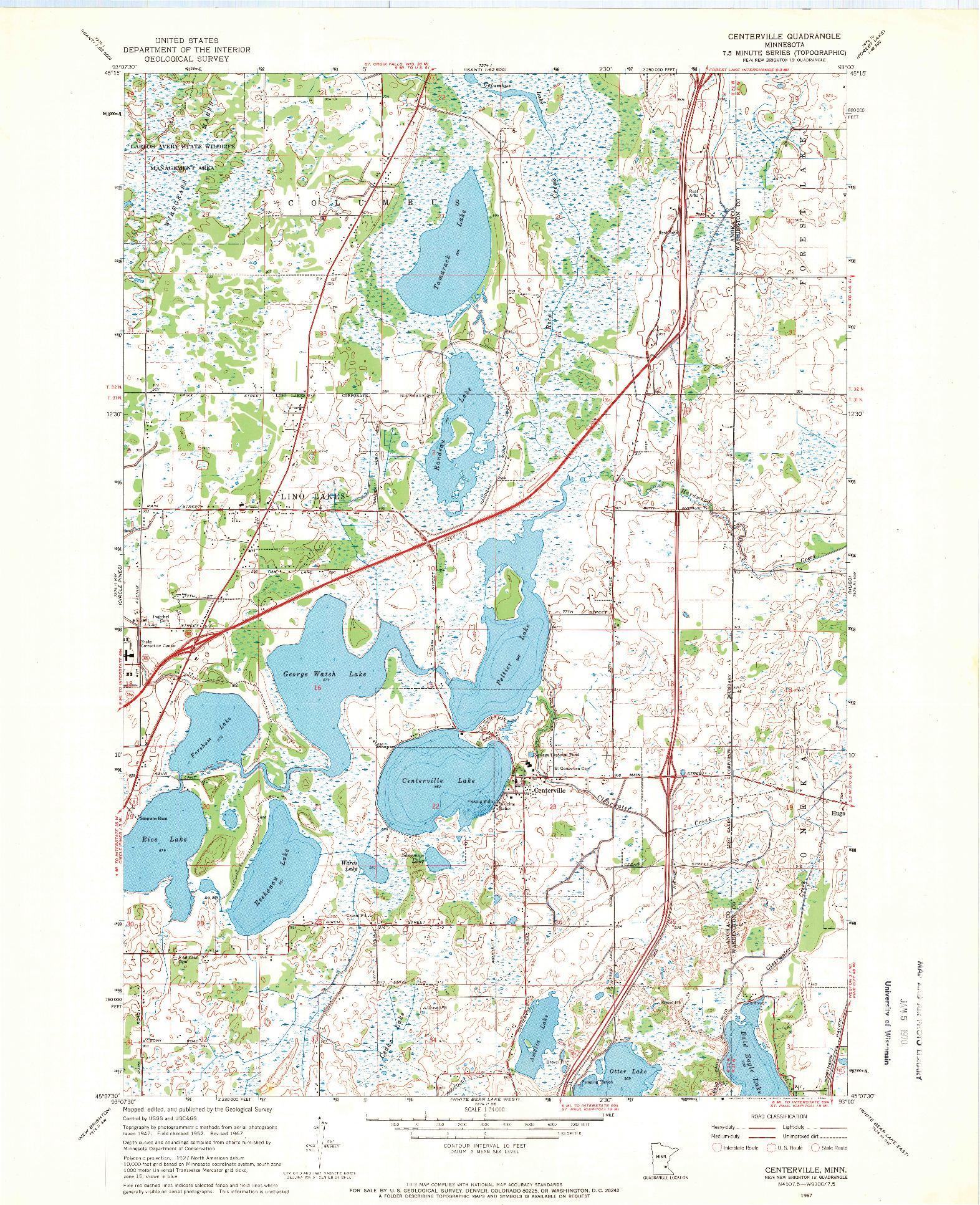 USGS 1:24000-SCALE QUADRANGLE FOR CENTERVILLE, MN 1967