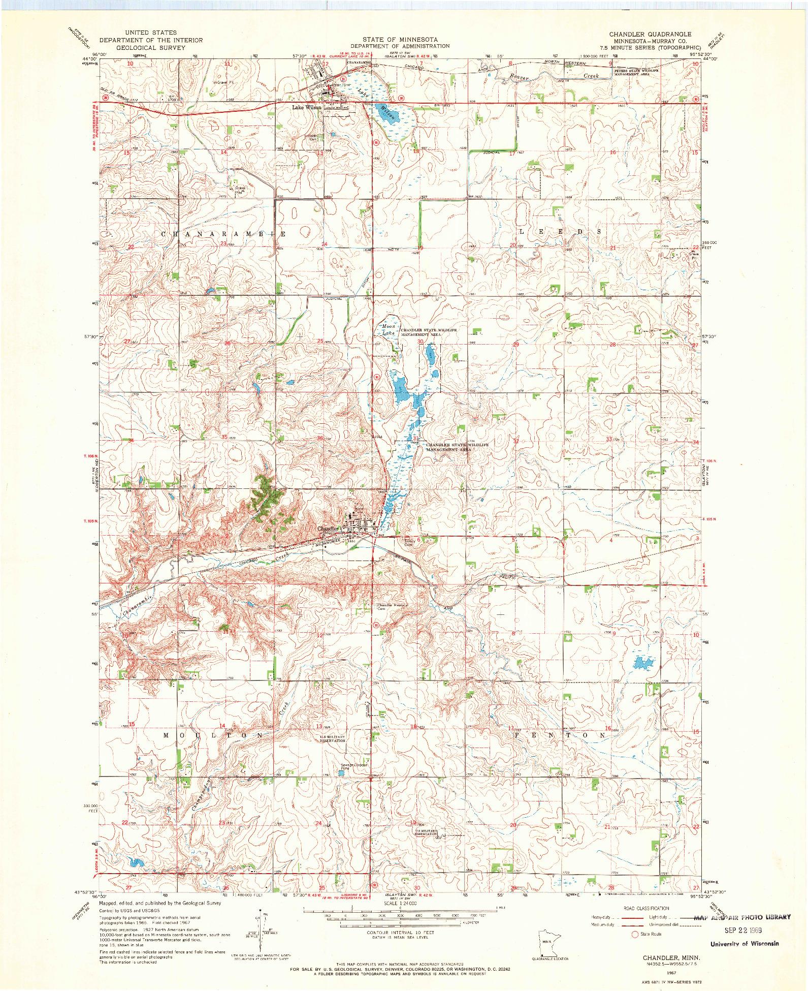 USGS 1:24000-SCALE QUADRANGLE FOR CHANDLER, MN 1967