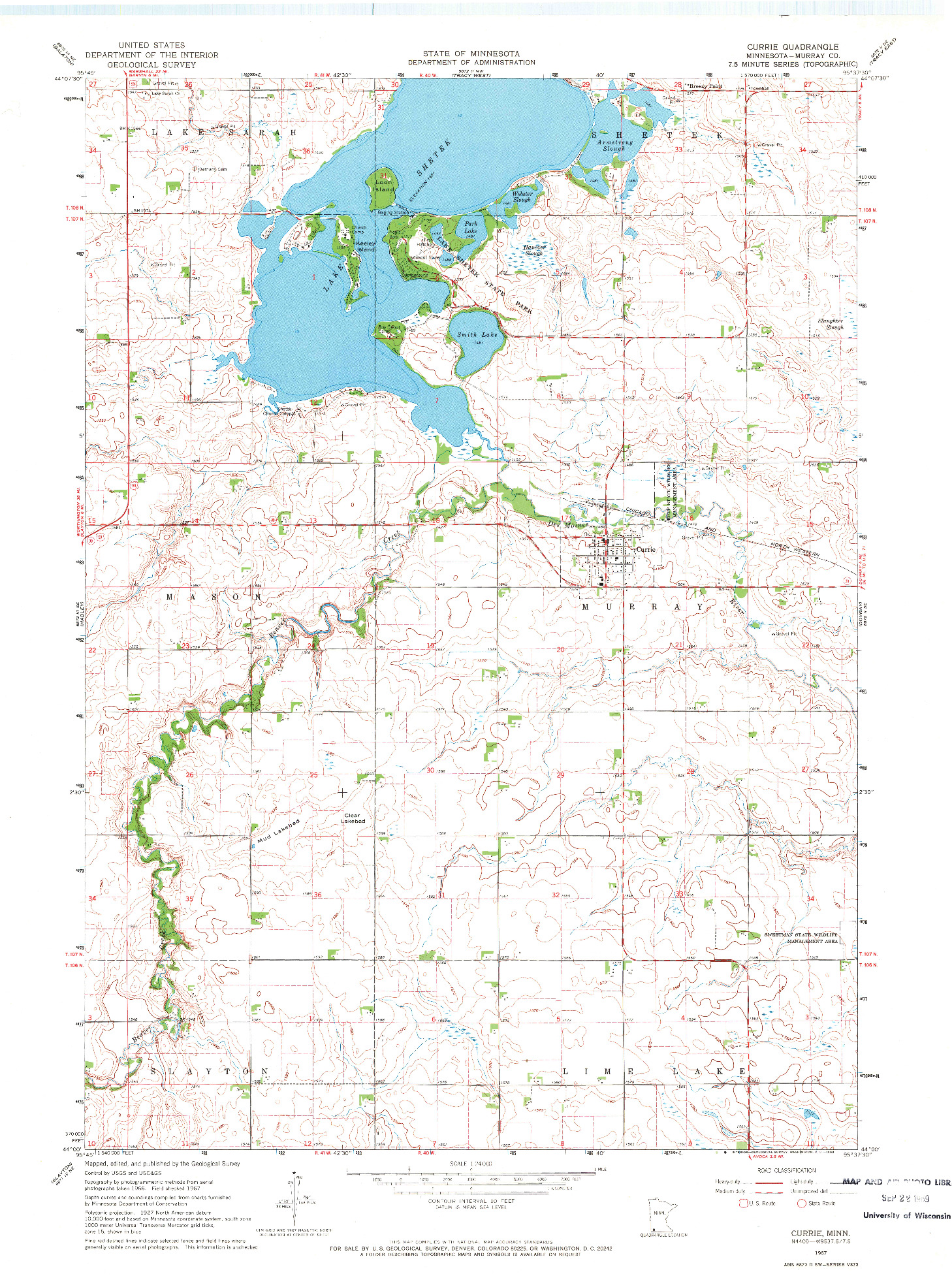 USGS 1:24000-SCALE QUADRANGLE FOR CURRIE, MN 1967