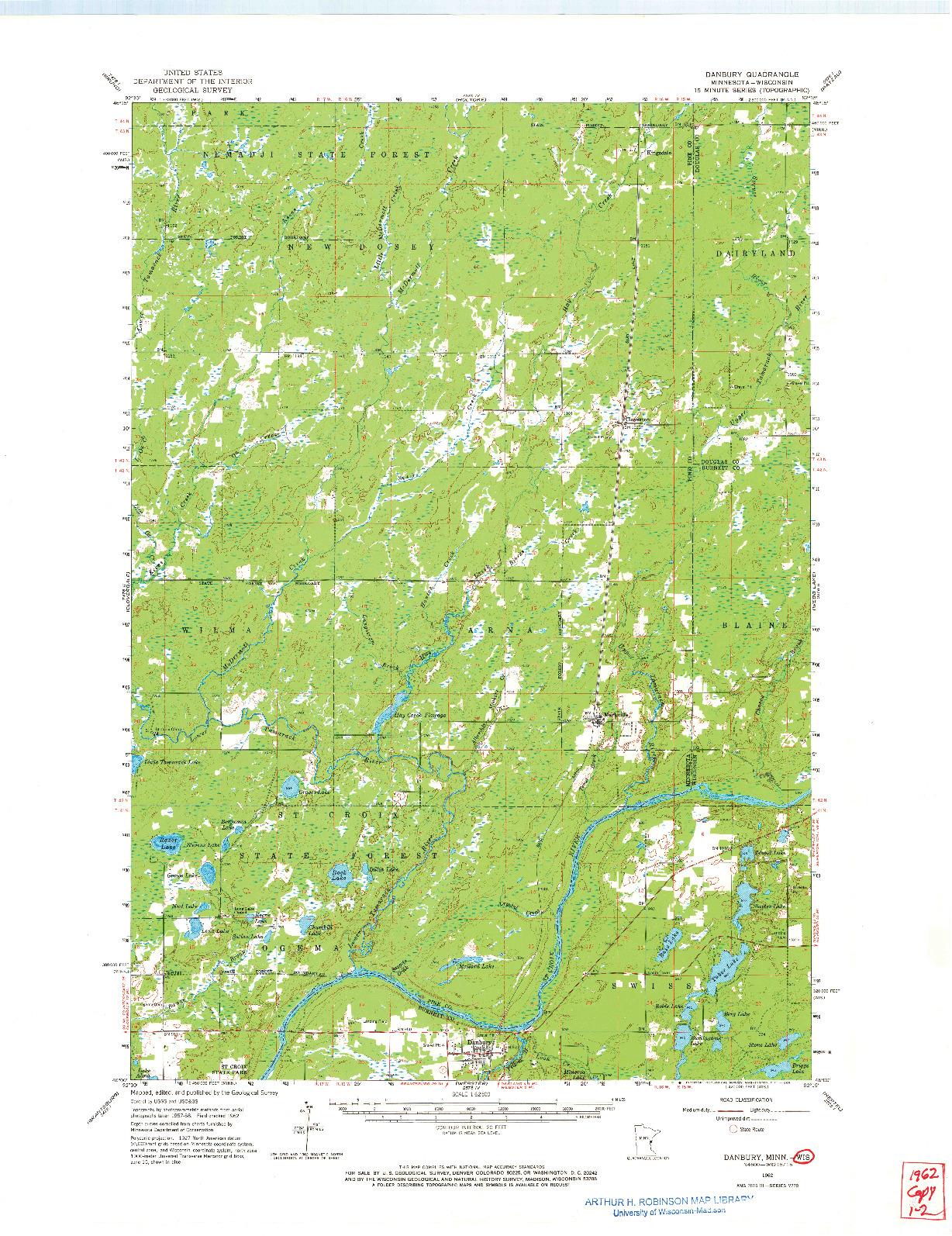 USGS 1:62500-SCALE QUADRANGLE FOR DANBURY, MN 1962