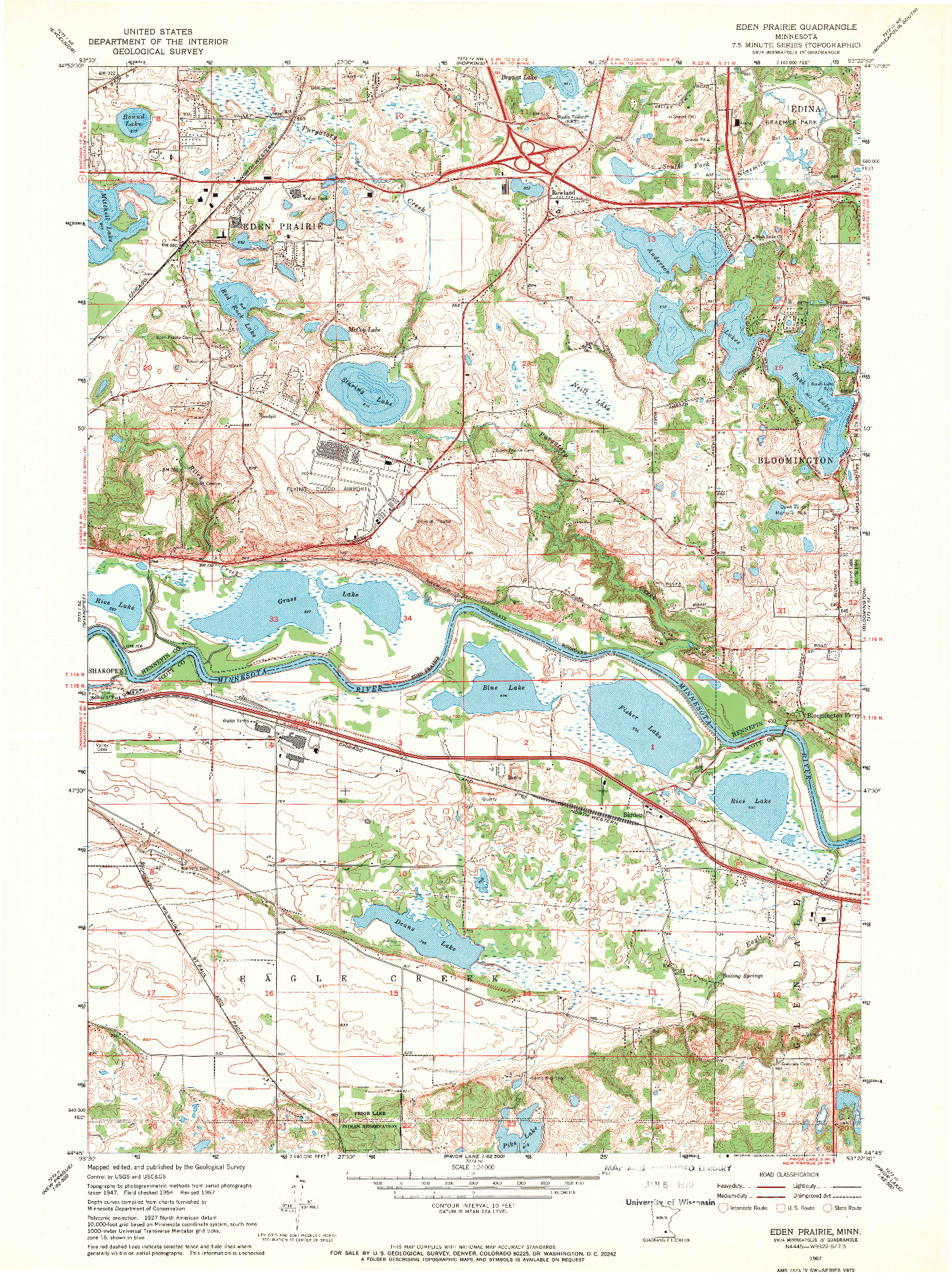 USGS 1:24000-SCALE QUADRANGLE FOR EDEN PRAIRIE, MN 1967