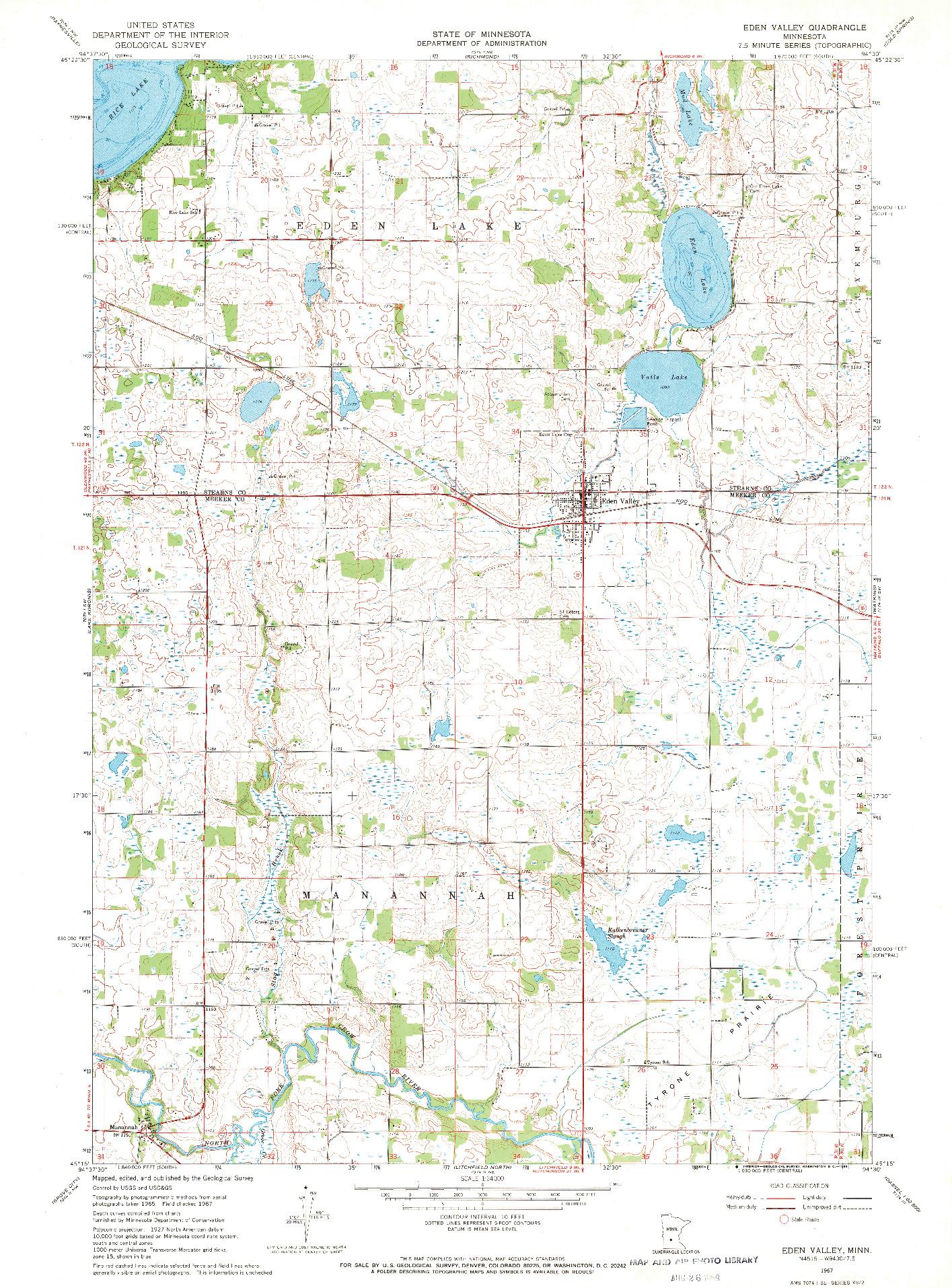 USGS 1:24000-SCALE QUADRANGLE FOR EDEN VALLEY, MN 1967