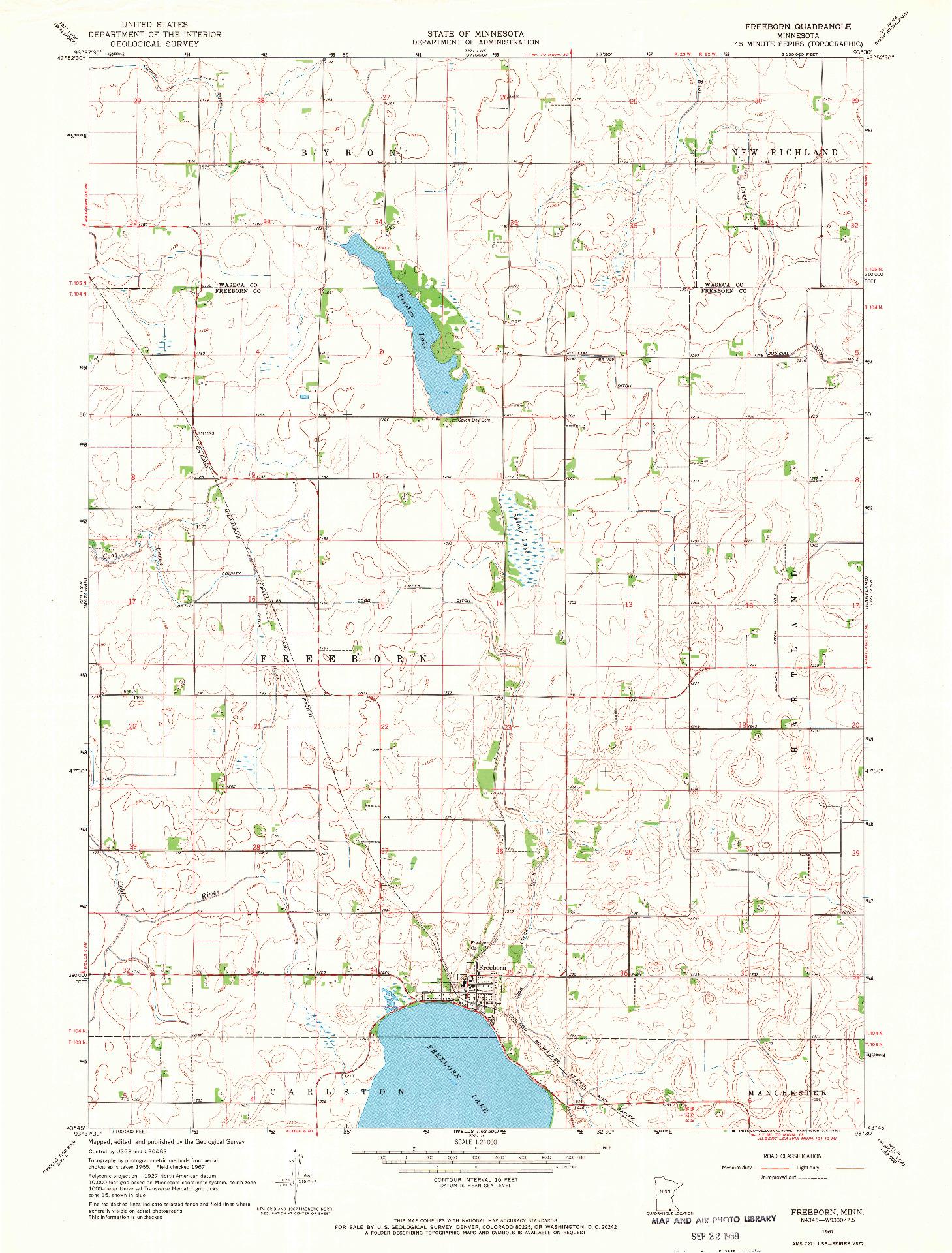 USGS 1:24000-SCALE QUADRANGLE FOR FREEBORN, MN 1967