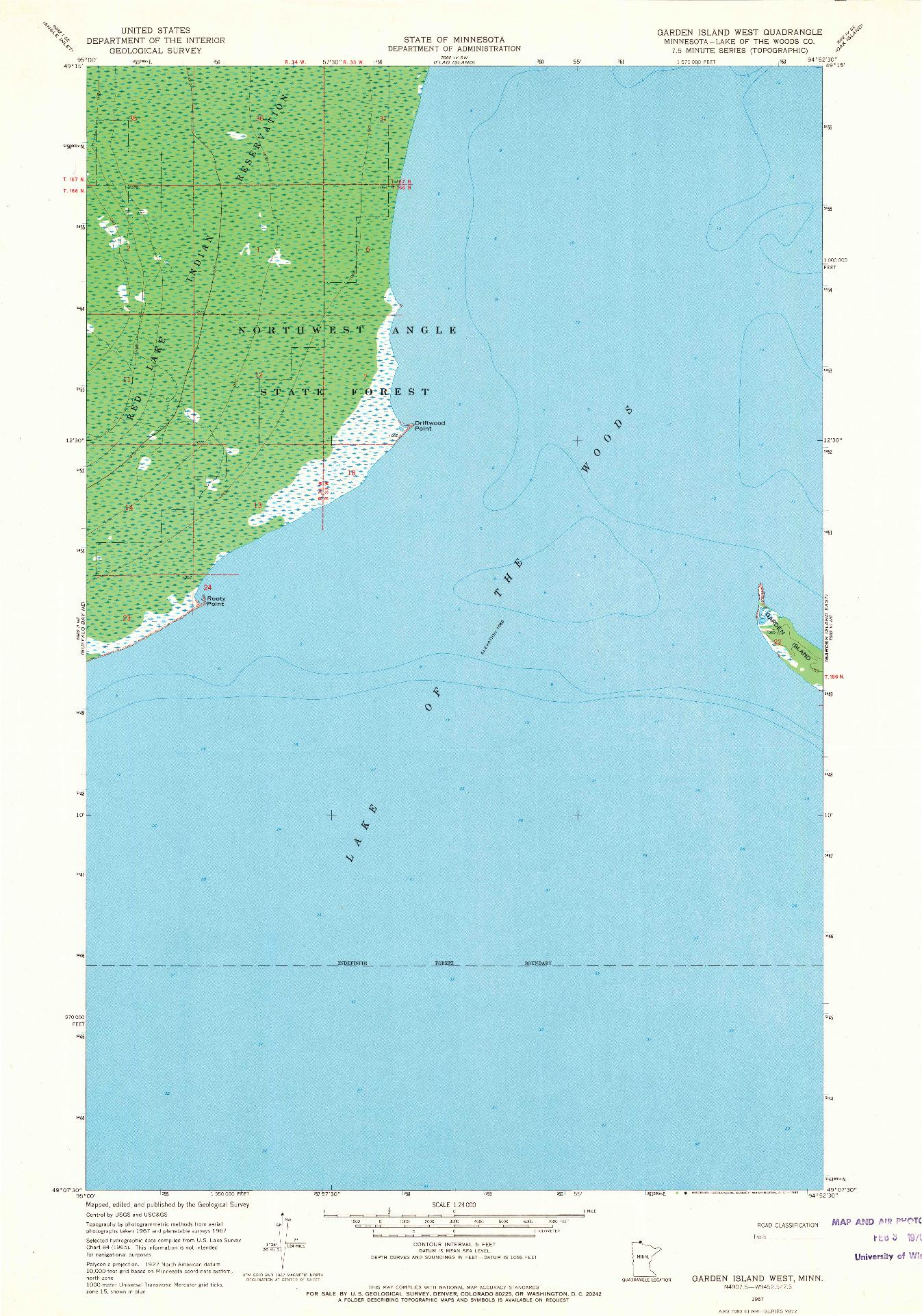 USGS 1:24000-SCALE QUADRANGLE FOR GARDEN ISLAND WEST, MN 1967