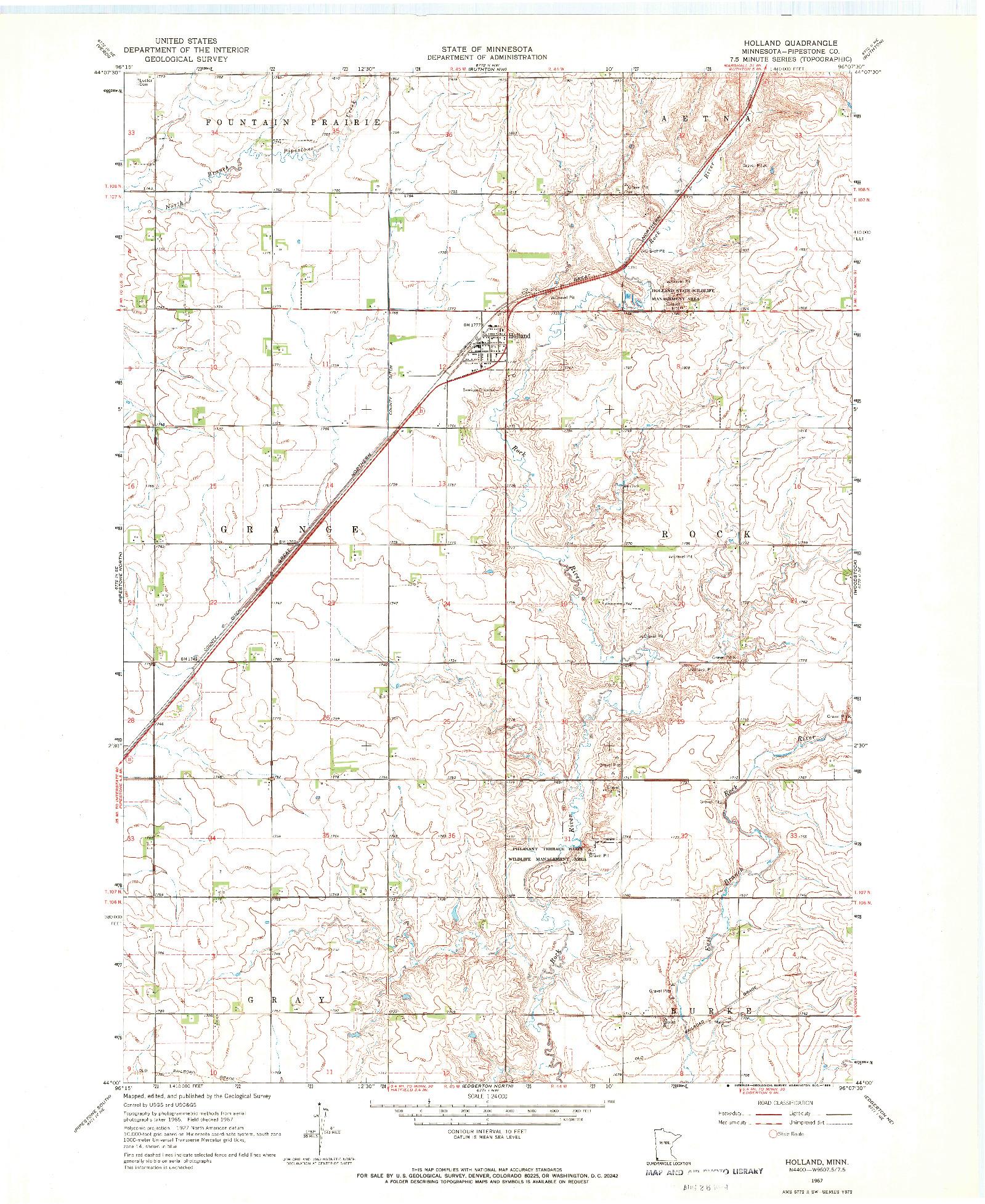 USGS 1:24000-SCALE QUADRANGLE FOR HOLLAND, MN 1967