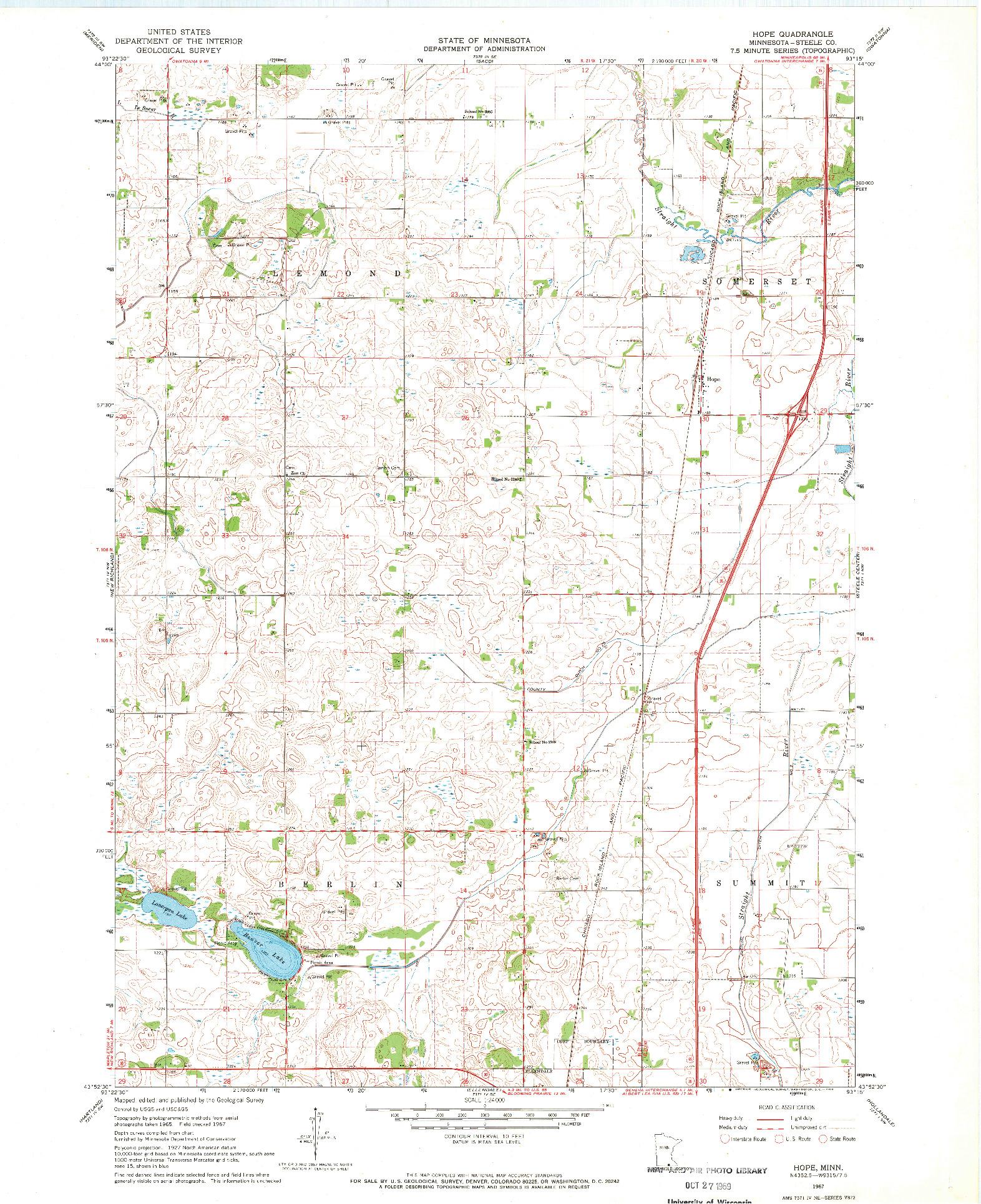 USGS 1:24000-SCALE QUADRANGLE FOR HOPE, MN 1967