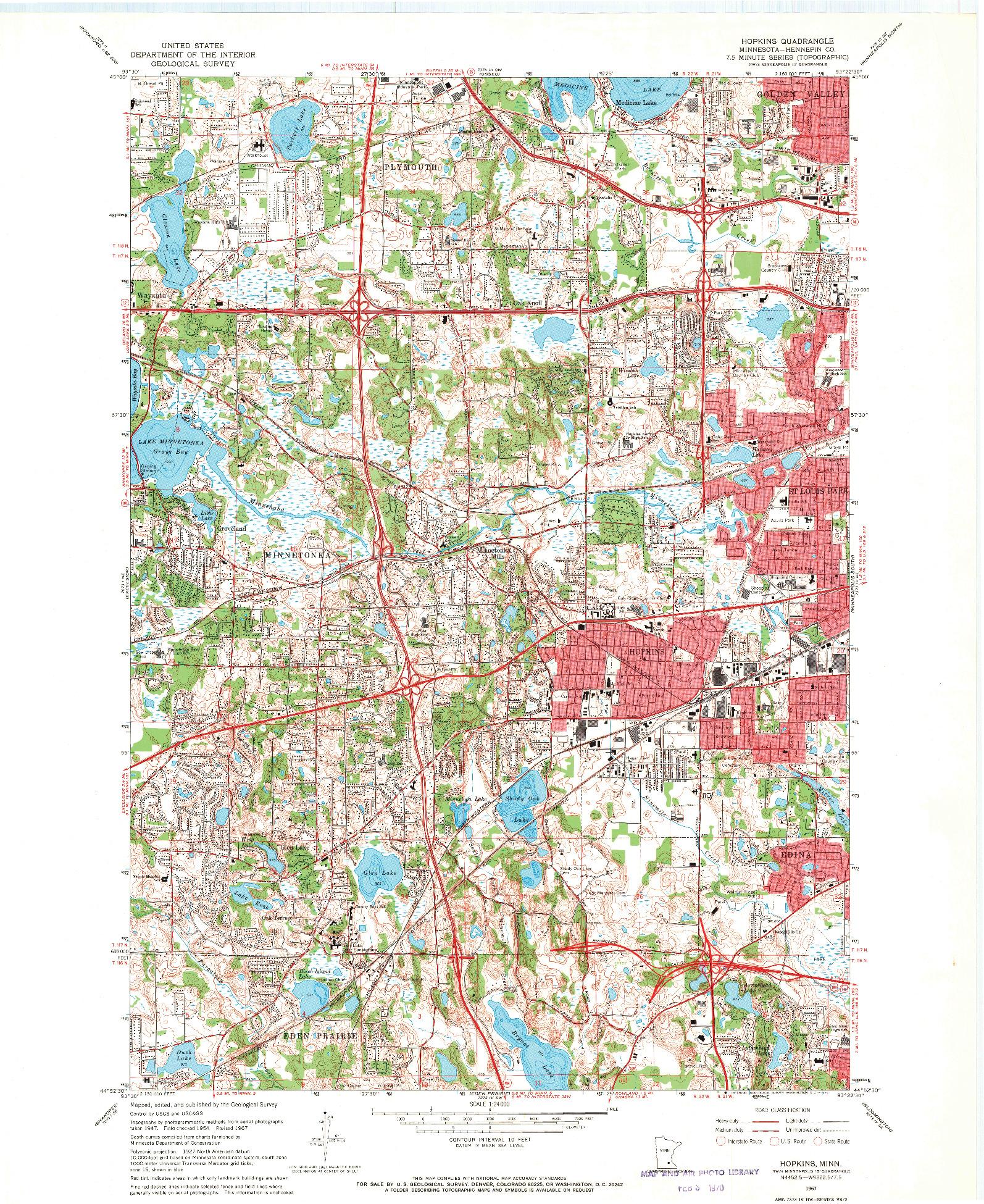 USGS 1:24000-SCALE QUADRANGLE FOR HOPKINS, MN 1967