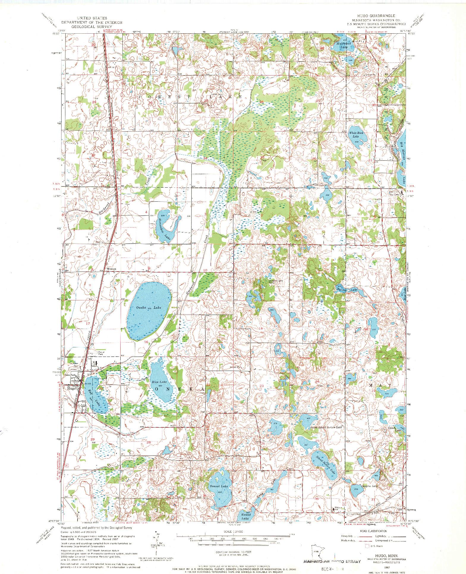 USGS 1:24000-SCALE QUADRANGLE FOR HUGO, MN 1967
