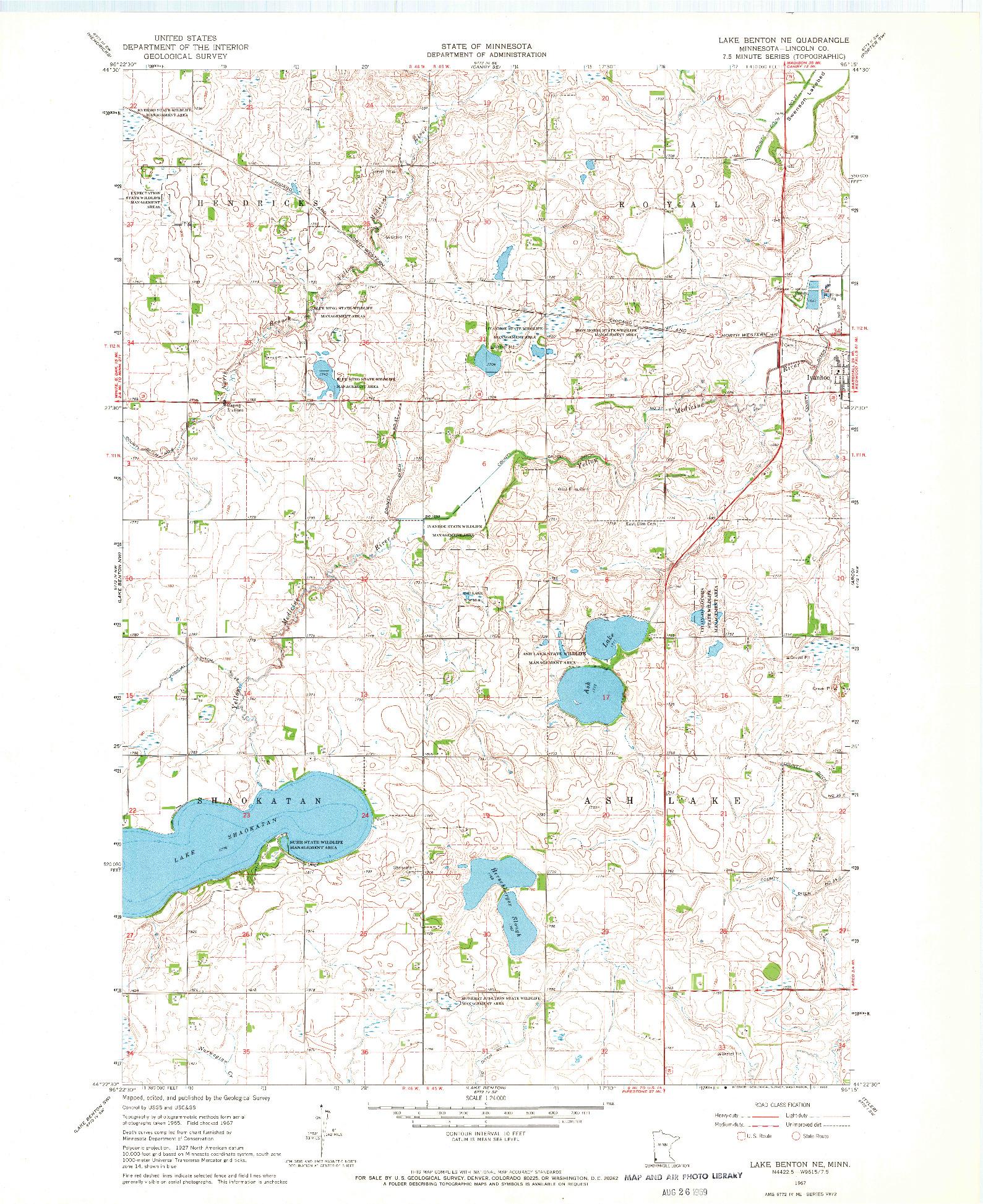 USGS 1:24000-SCALE QUADRANGLE FOR LAKE BENTON NE, MN 1967