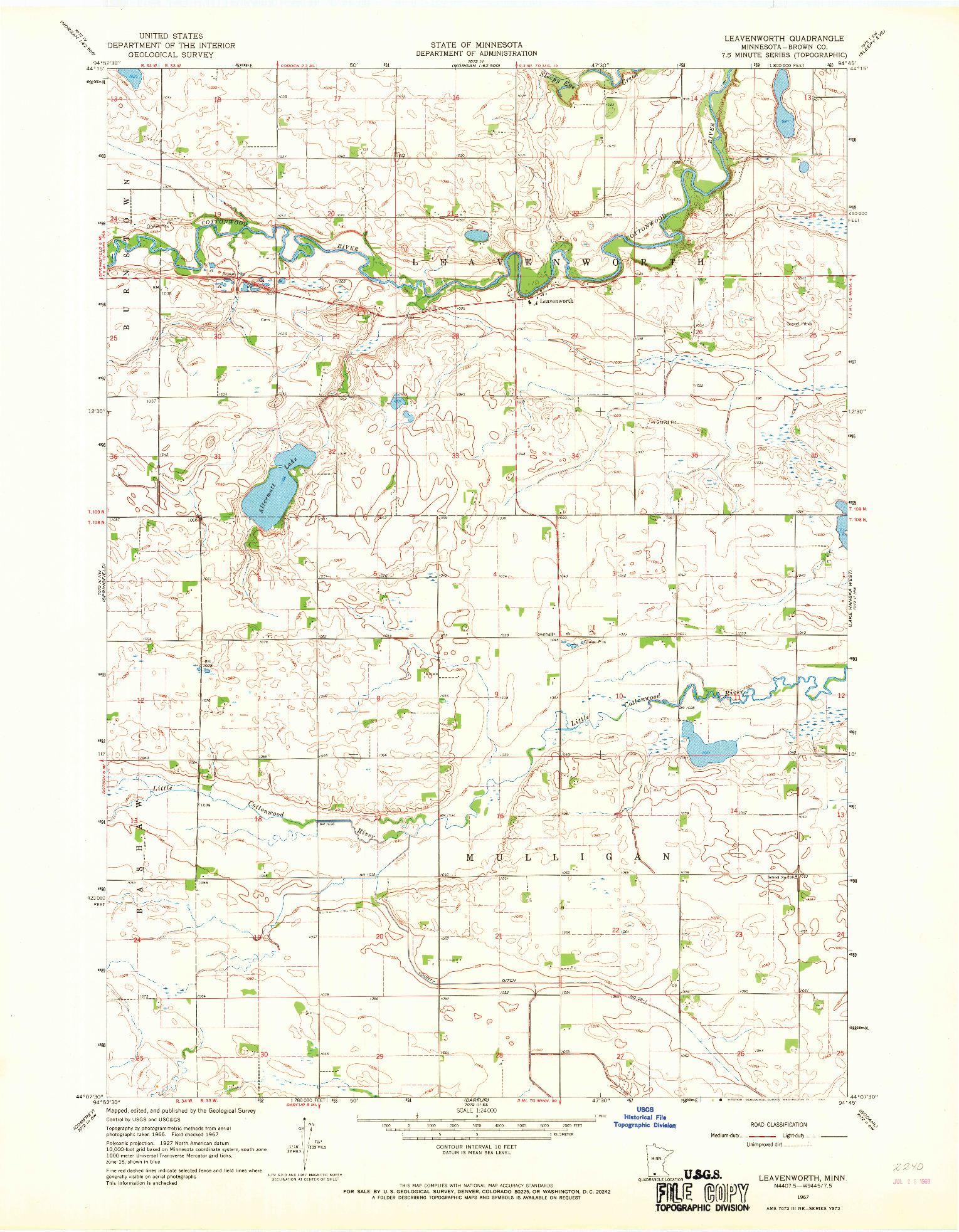 USGS 1:24000-SCALE QUADRANGLE FOR LEAVENWORTH, MN 1967