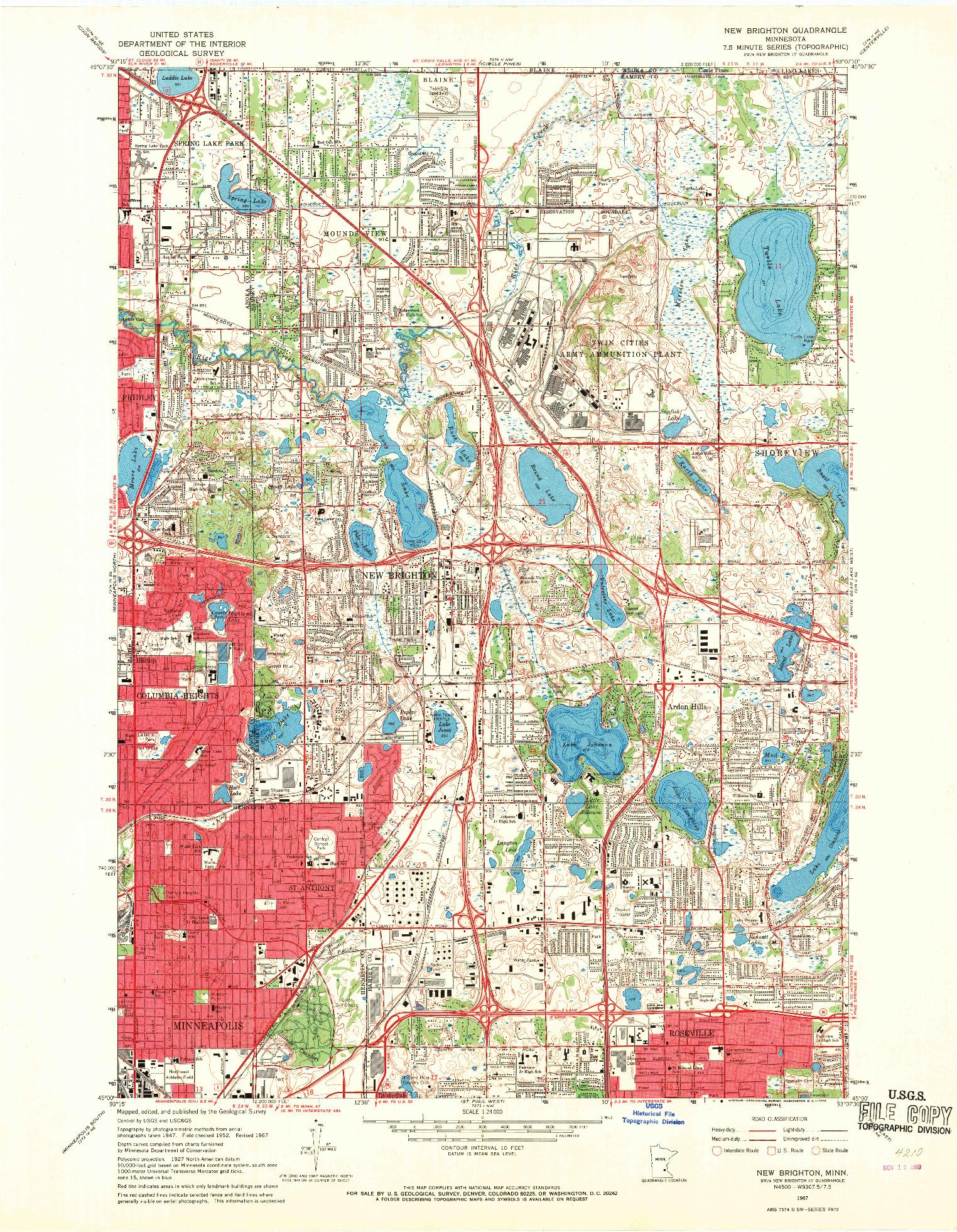 USGS 1:24000-SCALE QUADRANGLE FOR NEW BRIGHTON, MN 1967