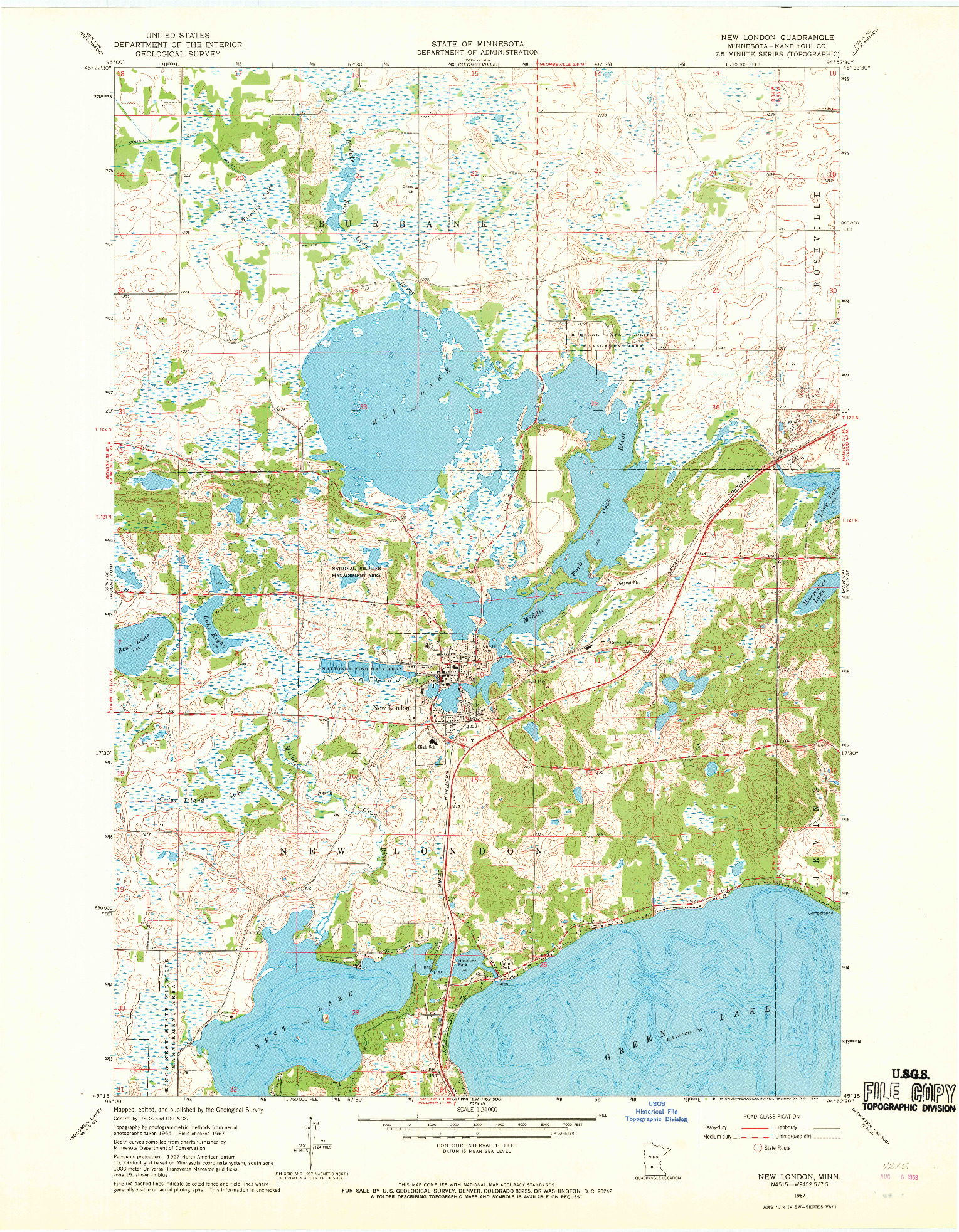 USGS 1:24000-SCALE QUADRANGLE FOR NEW LONDON, MN 1967